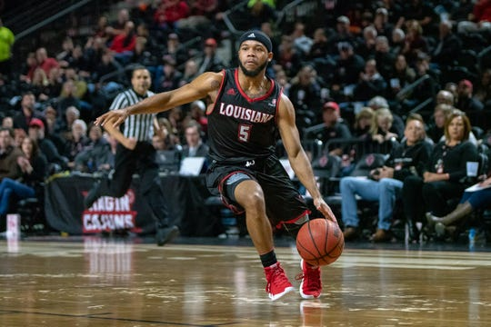 UL's Trajan Wesley handles the ball during the play as the Ragin' Cajuns take on the Georgia State Panthers at the Cajundome on Feb. 8, 2019.