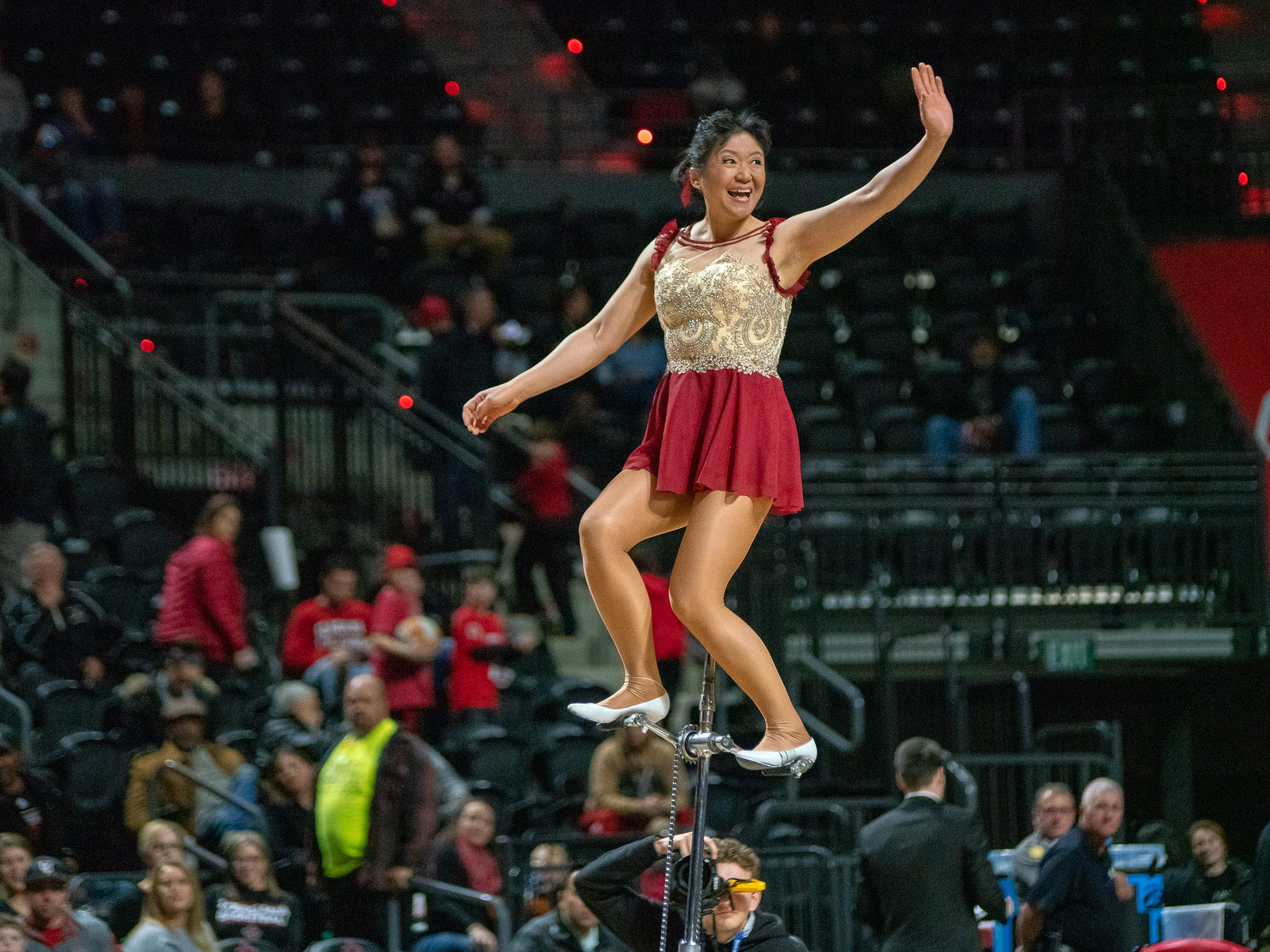 Red Panda waves to the crowd before her halftime performance as the Ragin' Cajuns take on the Georgia State Panthers at the Cajundome on Feb. 8, 2019.