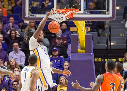 Naz Reid dunks the ball as the LSU Tigers take down the Auburn Tigers 83-78. Saturday, Feb. 9, 2019.