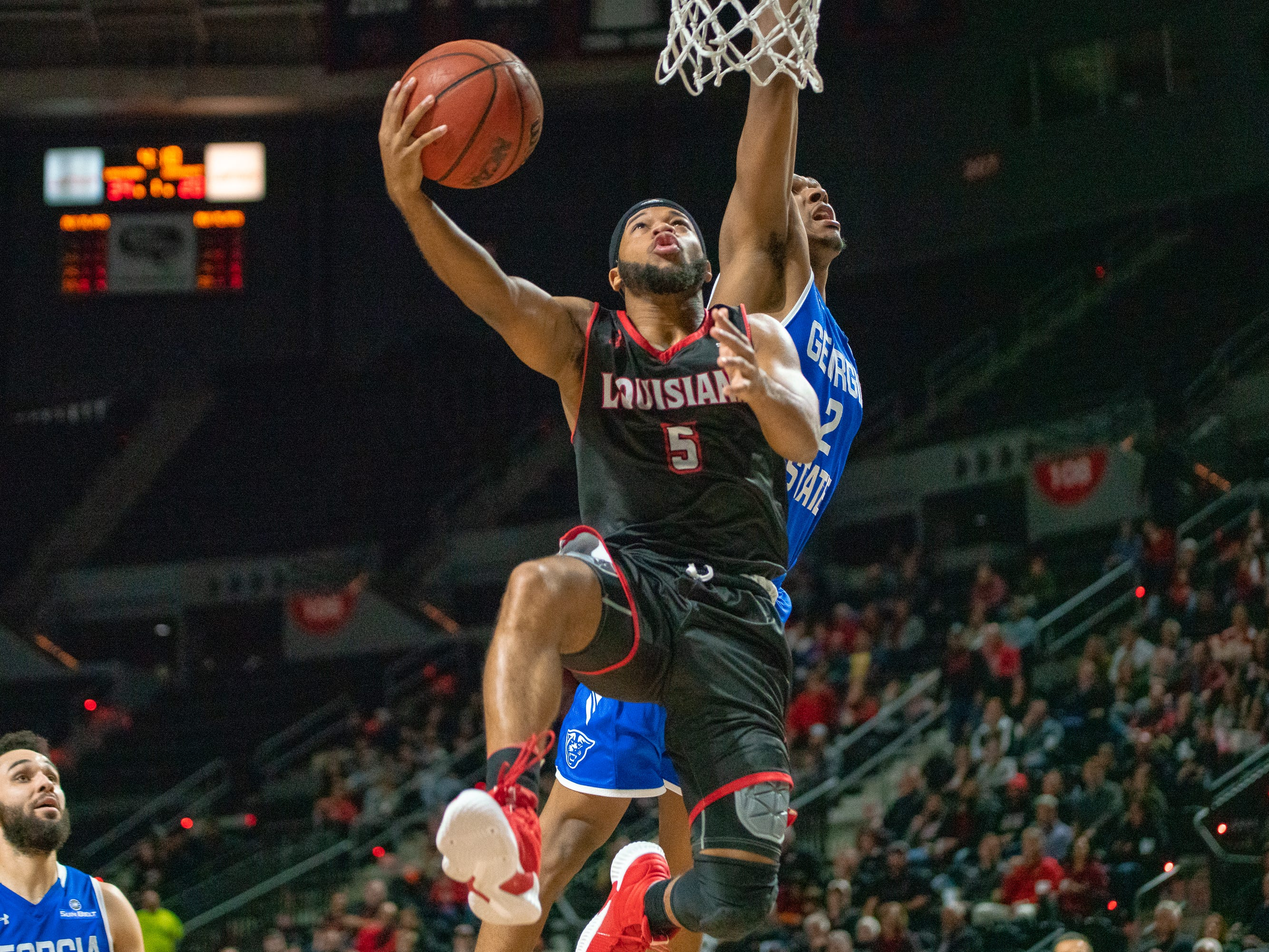UL's Trajan Wesley scores a layup as the Ragin' Cajuns take on the Georgia State Panthers at the Cajundome on Feb. 8, 2019.