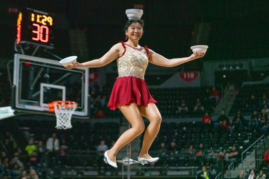 Red Panda performs during halftime as the Ragin' Cajuns take on the Georgia State Panthers at the Cajundome on Feb. 8, 2019.