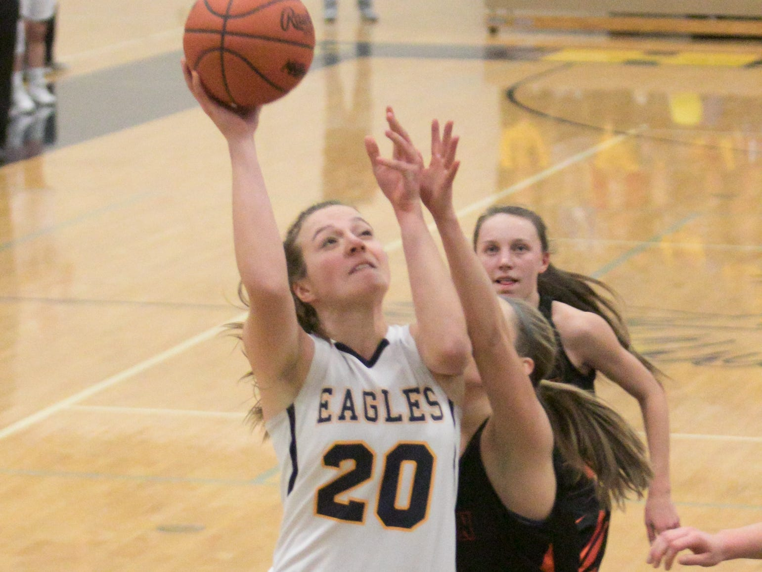 Hartland Eagle Lillee Gustafson shoots in the home game against Brighton Friday, Feb. 8, 2019.
