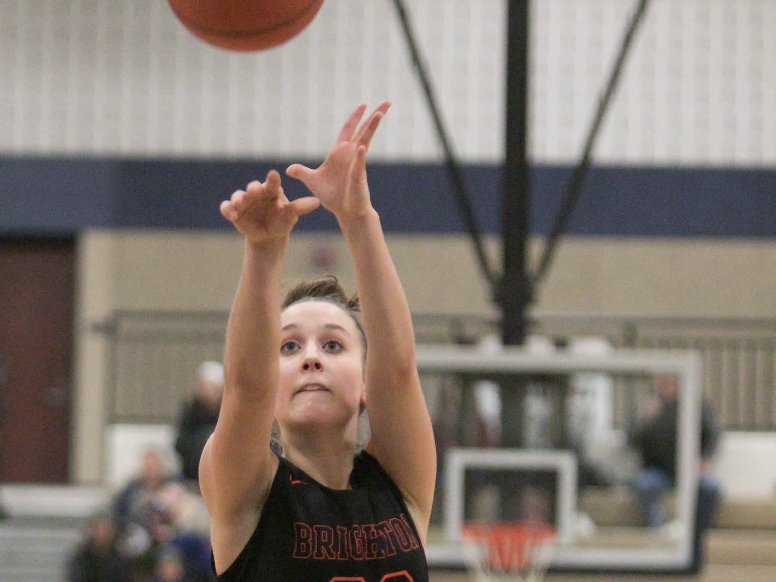 Lauren Brown of Brighton makes good on two free-throws in the second period of the game at Hartland Friday, Feb. 8, 2019.