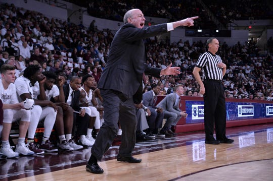 Mississippi State Bulldogs head coach Ben Howland reacts during the first half of the game against the Kentucky Wildcats at Humphrey Coliseum in Starkville, Mississippi, on Saturday, Feb. 9, 2019.
