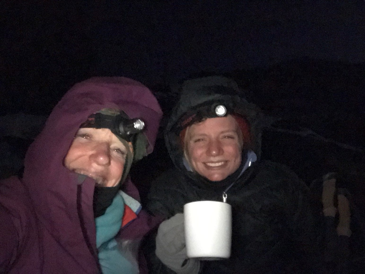 Kirby Adams and Jordan Grantz 45 minutes from summit of Mount Kilimanjaro, Tanzania