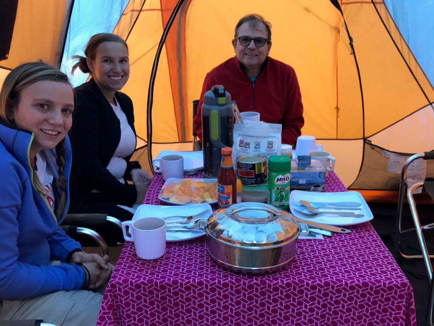 Family dining tent, Jordan, Elliott and John Grantz, Mount Kilimanjaro, Tanzania