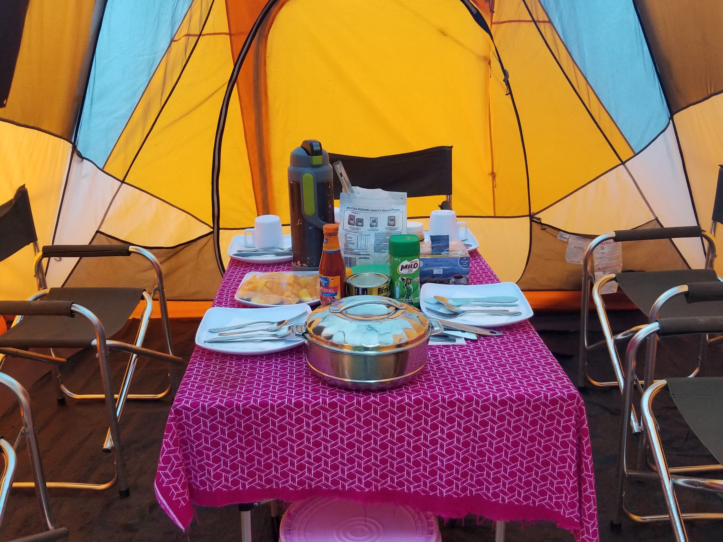 Time for dinner on Mount Kilimanjaro