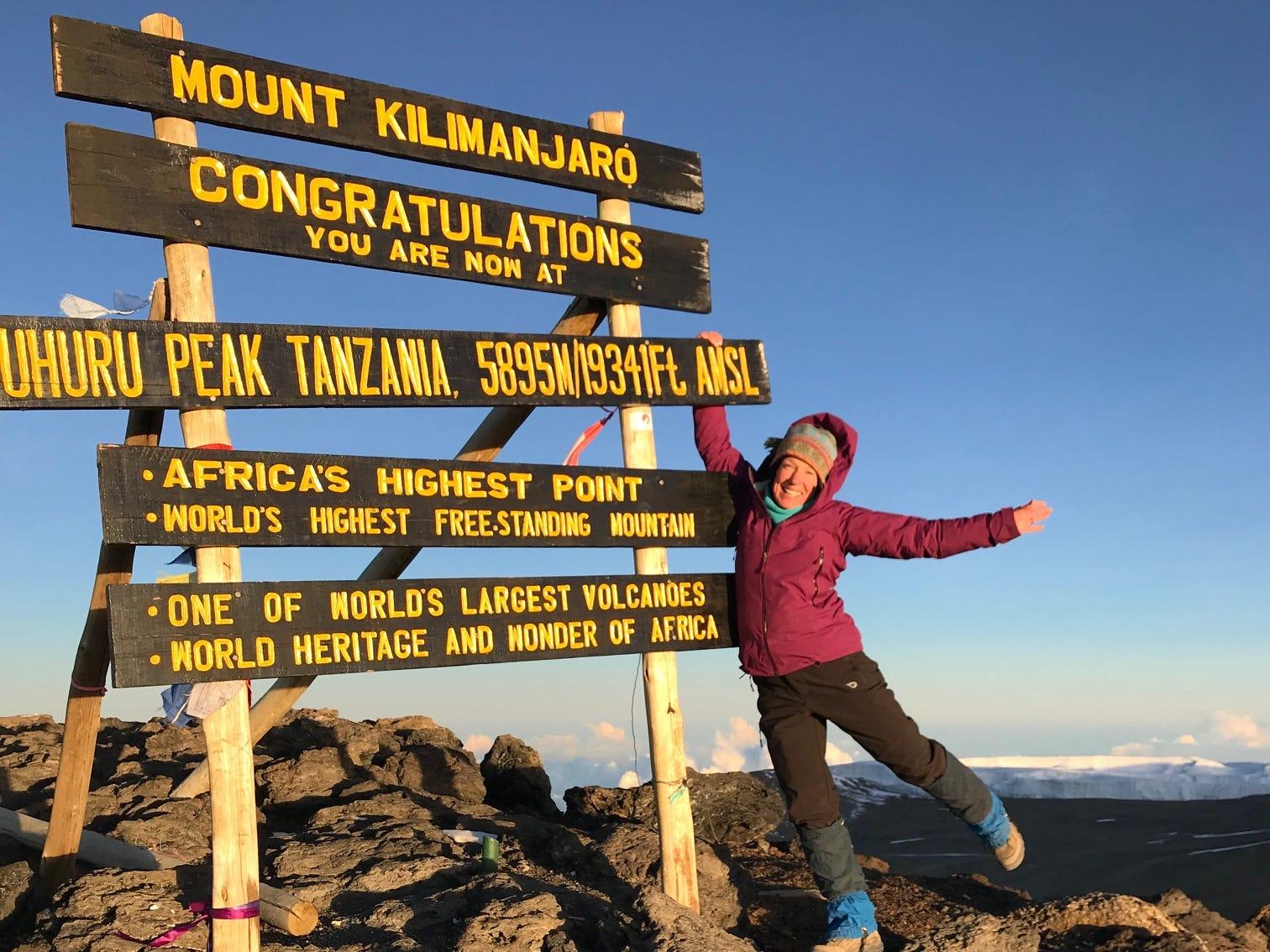 Kirby Adams at summit of Mount Kilimanjaro, Tanzania