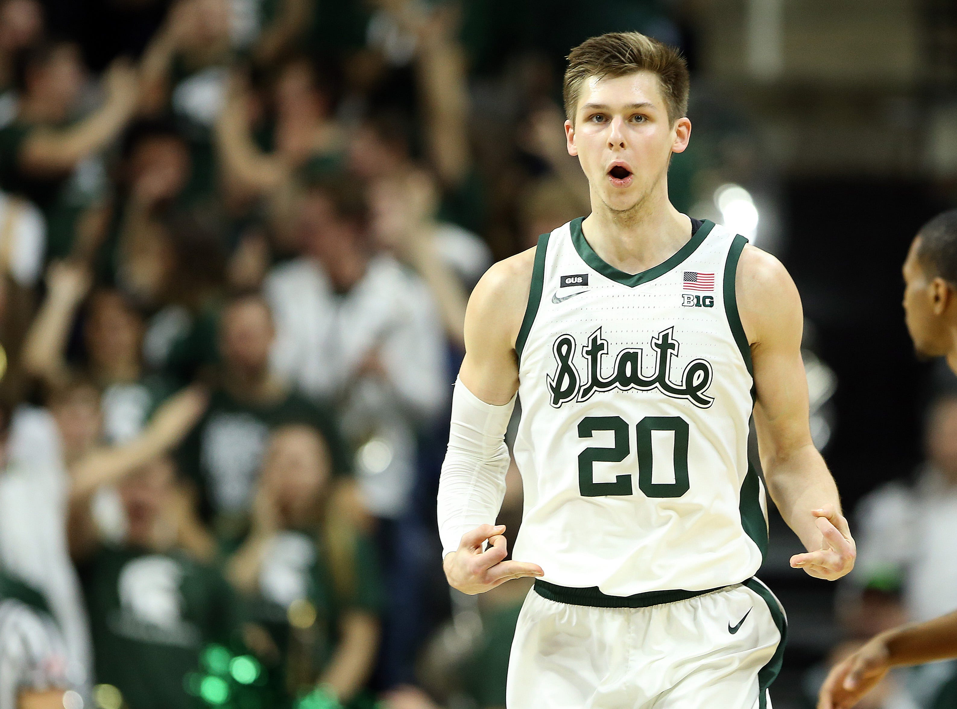 Feb 9, 2019; East Lansing, MI, USA; Michigan State Spartans guard Matt McQuaid (20) reacts during the first half against the Minnesota Golden Gophers at the Breslin Center. Mandatory Credit: Mike Carter-USA TODAY Sports