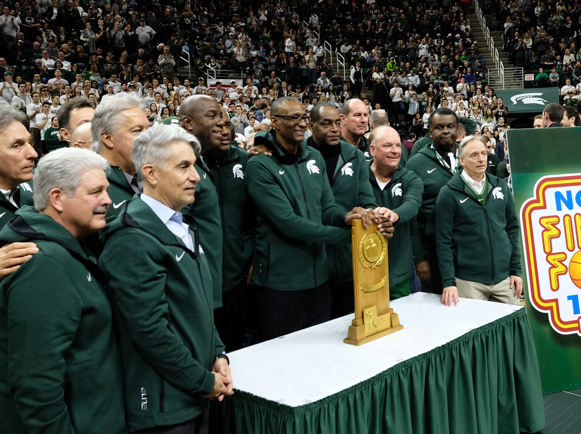 Members of the 1979 MSU National Championship team are at the Breslin Center to commorate the 40th anniversary of the accomplishment Saturday, Feb. 9, 2019.