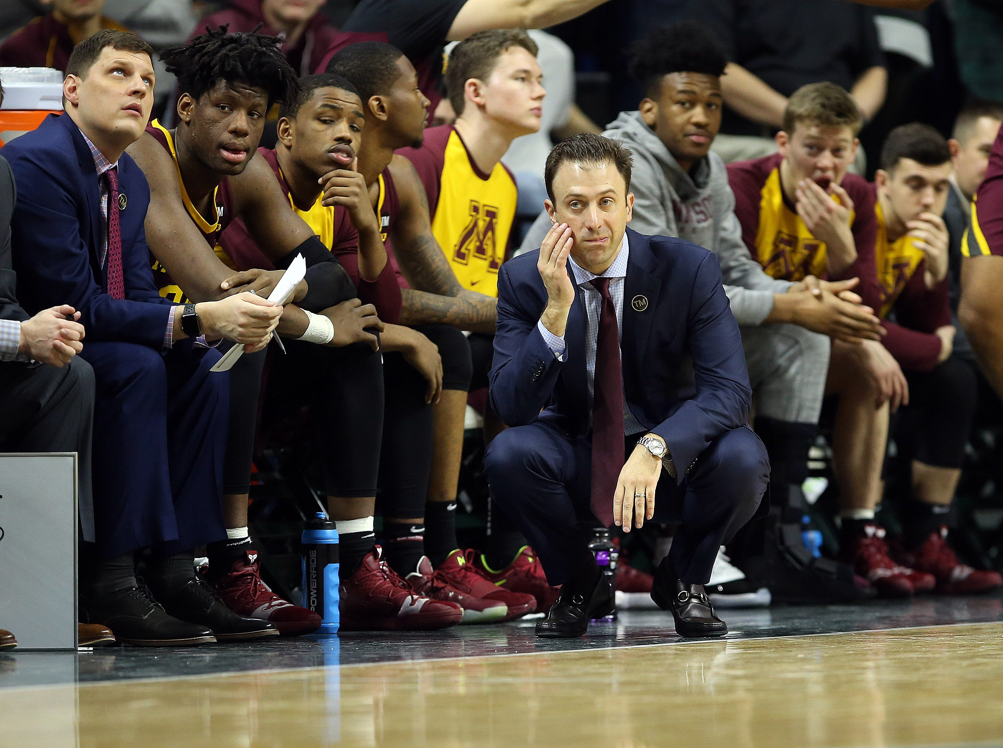 Feb 9, 2019; East Lansing, MI, USA; Minnesota Golden Gophers head coach Rick Pitino reacts during the first half against the Michigan State Spartans at the Breslin Center. Mandatory Credit: Mike Carter-USA TODAY Sports