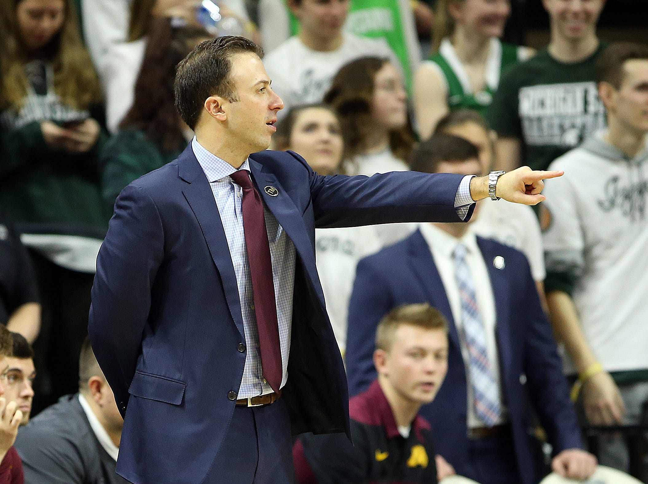 Feb 9, 2019; East Lansing, MI, USA; Minnesota Golden Gophers head coach Rick Pitino reacts during the second half against the Michigan State Spartans at the Breslin Center. Mandatory Credit: Mike Carter-USA TODAY Sports