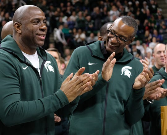 "MSU basketball greats Earvin ""Magic"" Johnson and Gregory Kelser and many of the 1979 National Championship team make an appearance at half-time during the MSU- Minnesota game Saturday, Feb. 9, 2019."