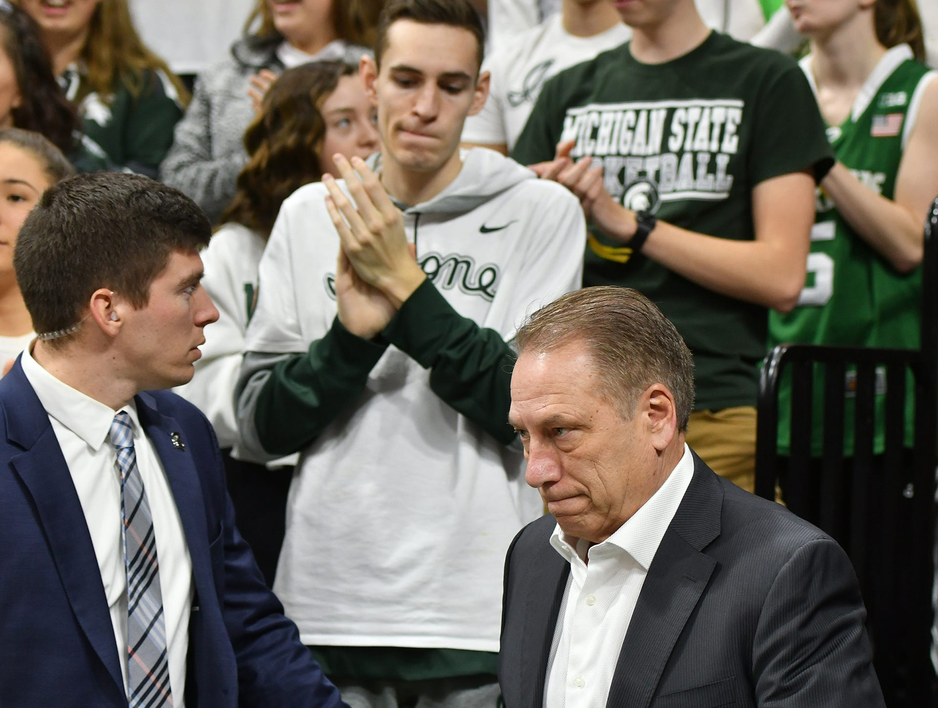 MSU Head Basketball Coach Tom Izzo heads on to the floor to meet Minnesota Saturday, Feb. 9, 2019. MSU won 79-55.