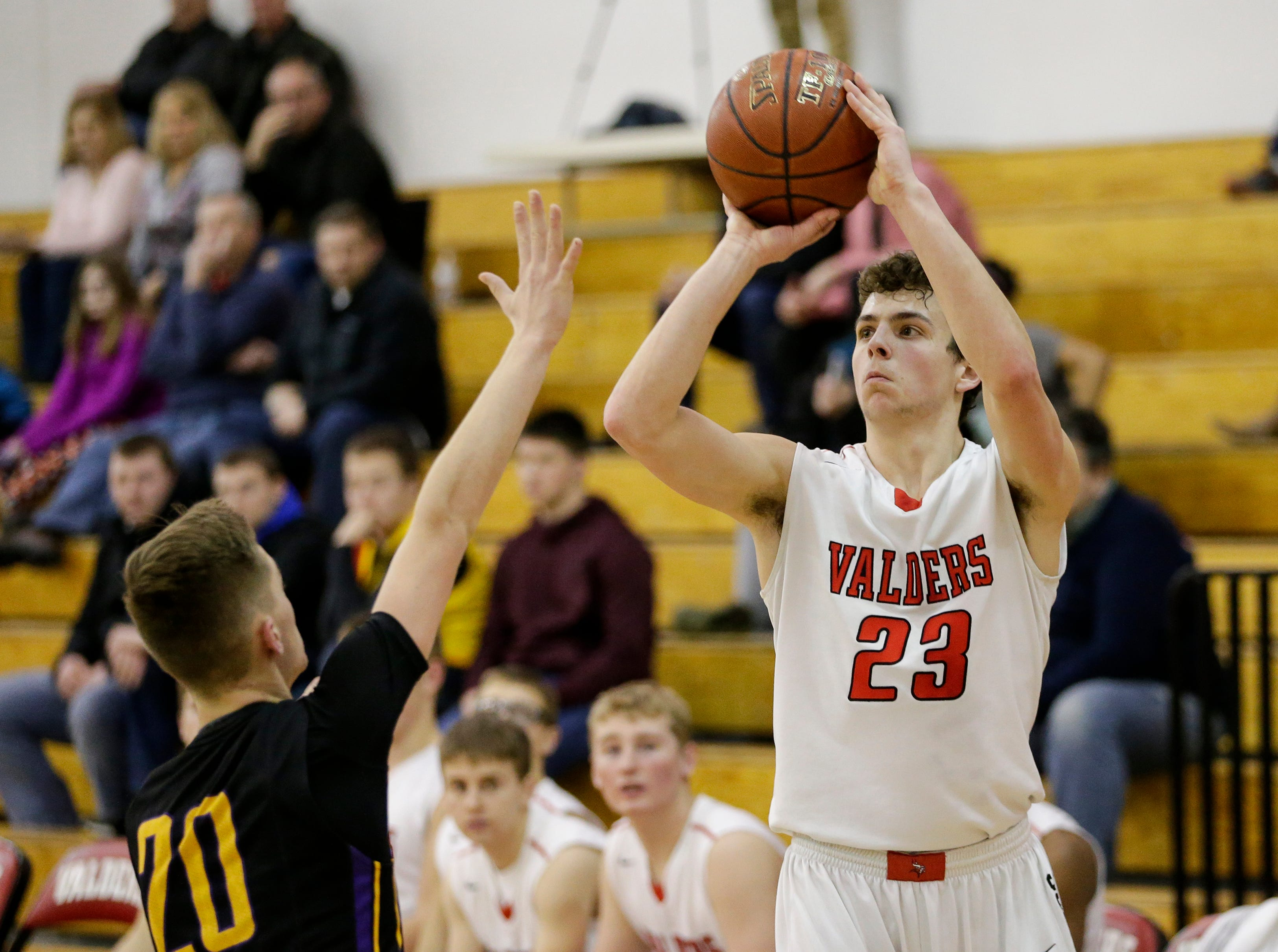 Valders' Reese Brown (23) shoots against Sheboygan Falls at Valders High School Friday, February 8, 2019, in Valders, Wis. Joshua Clark/USA TODAY NETWORK-Wisconsin