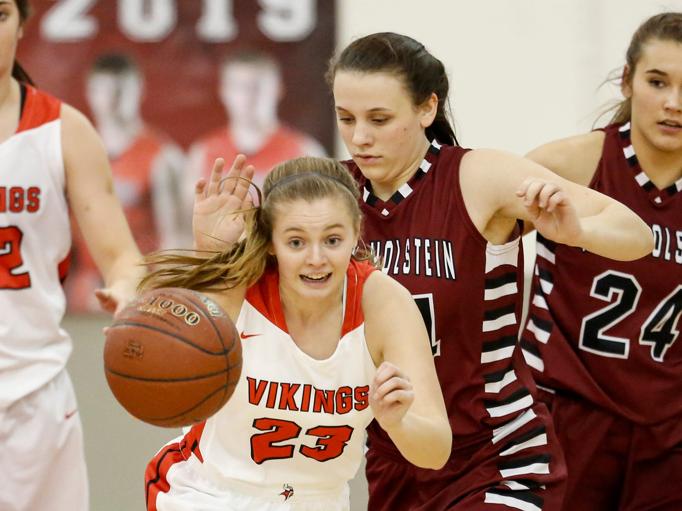 Valders' Madison Sabel (23) steals the ball from New Holstein at Valders High School Friday, February 8, 2019, in Valders, Wis. Joshua Clark/USA TODAY NETWORK-Wisconsin