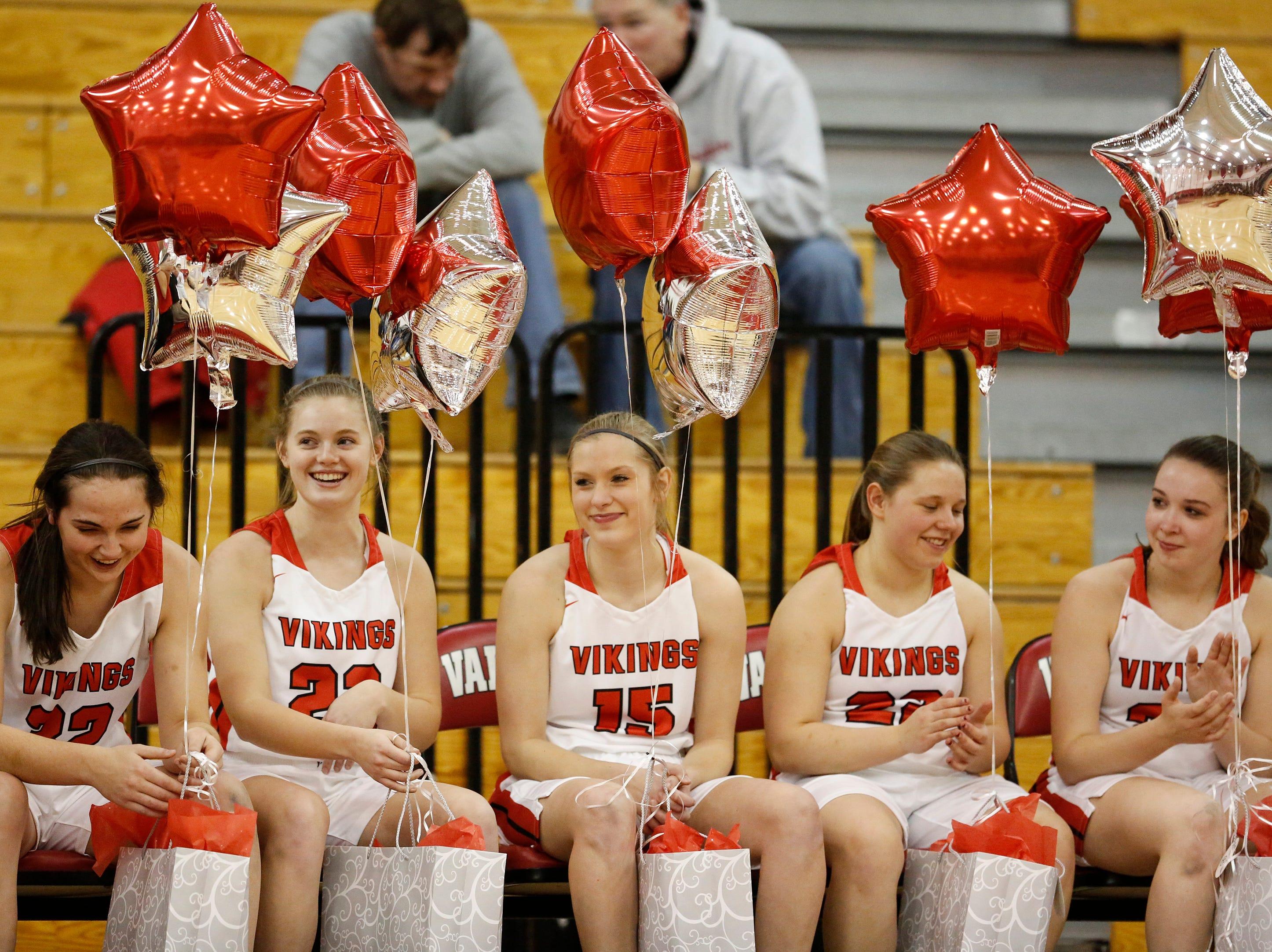 Valders' senior girls basketball players are honored on senior night before their game against New Holstein at Valders High School Friday, February 8, 2019, in Valders, Wis. Joshua Clark/USA TODAY NETWORK-Wisconsin