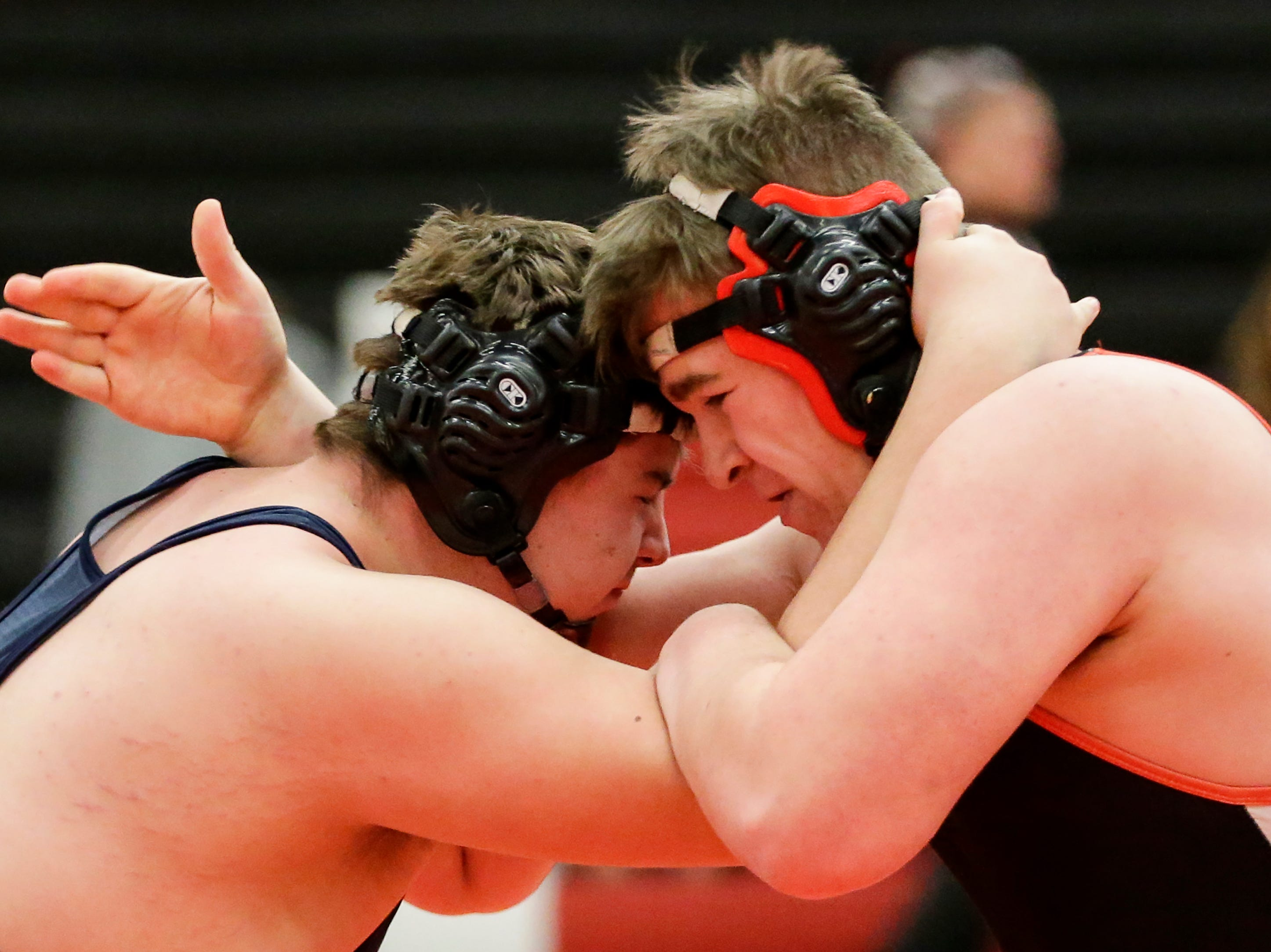 Manitowoc Lincoln's Jonas Gryffin wrestles Germantown's Joe Inga in the 285 weight class during the WIAA D1 Regionals at Manitowoc Lincoln High School Saturday, February 9, 2019, in Manitowoc, Wis. Joshua Clark/USA TODAY NETWORK-Wisconsin