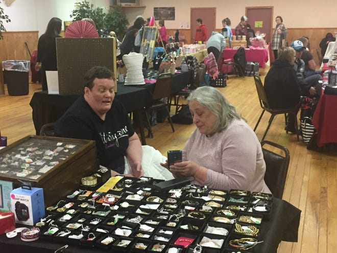 Sandy Fager (l) and Wanda Crisp visit during the 2019 Share the Love craft show at SC Parties LLC.