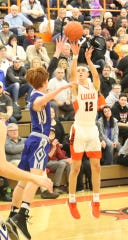 Lucas' Riley Gossom drains a 3-pointer in a win over St. Peter's earlier in the season.