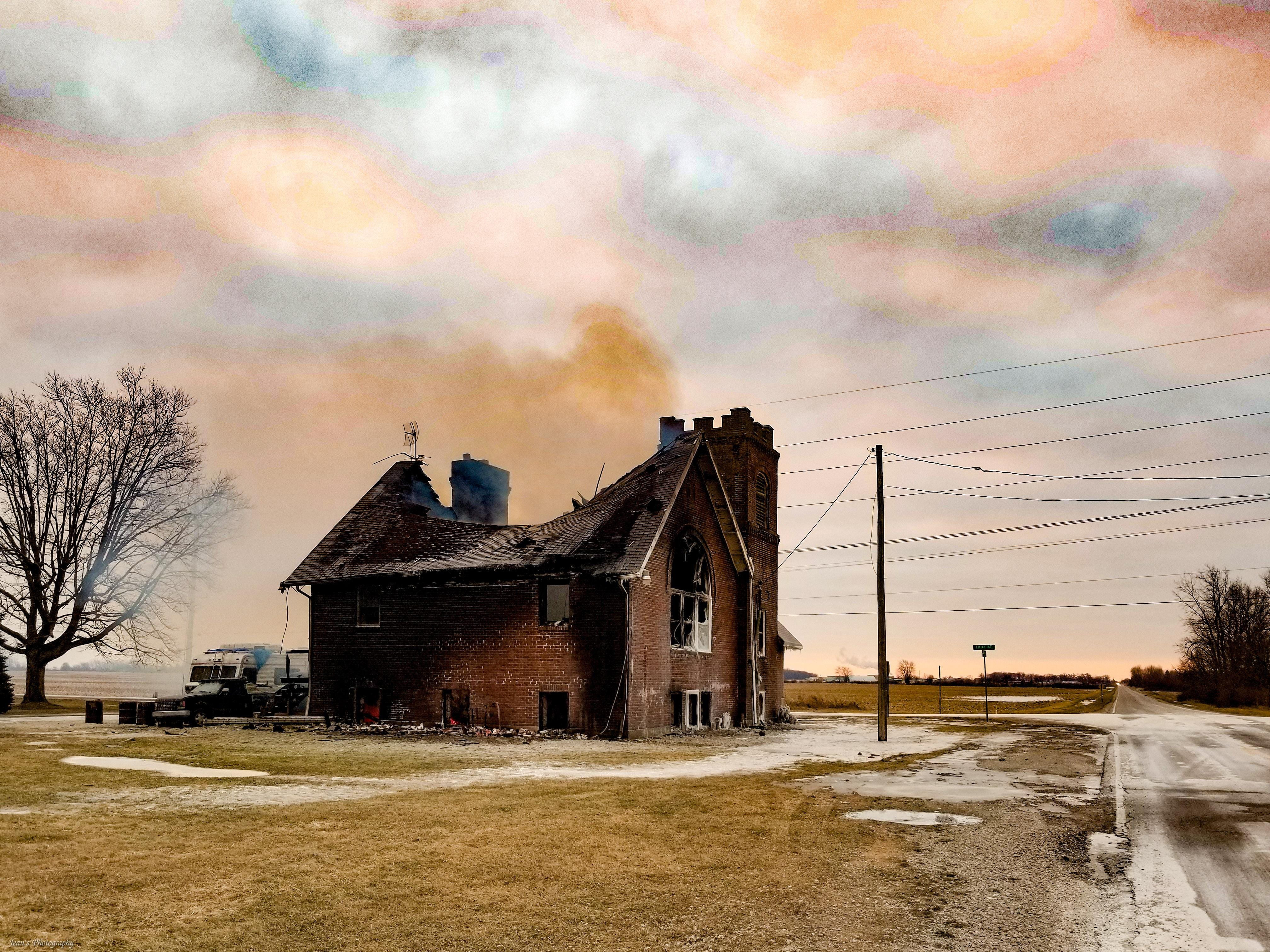 A Friday evening blaze claimed an old church on Likens Road.