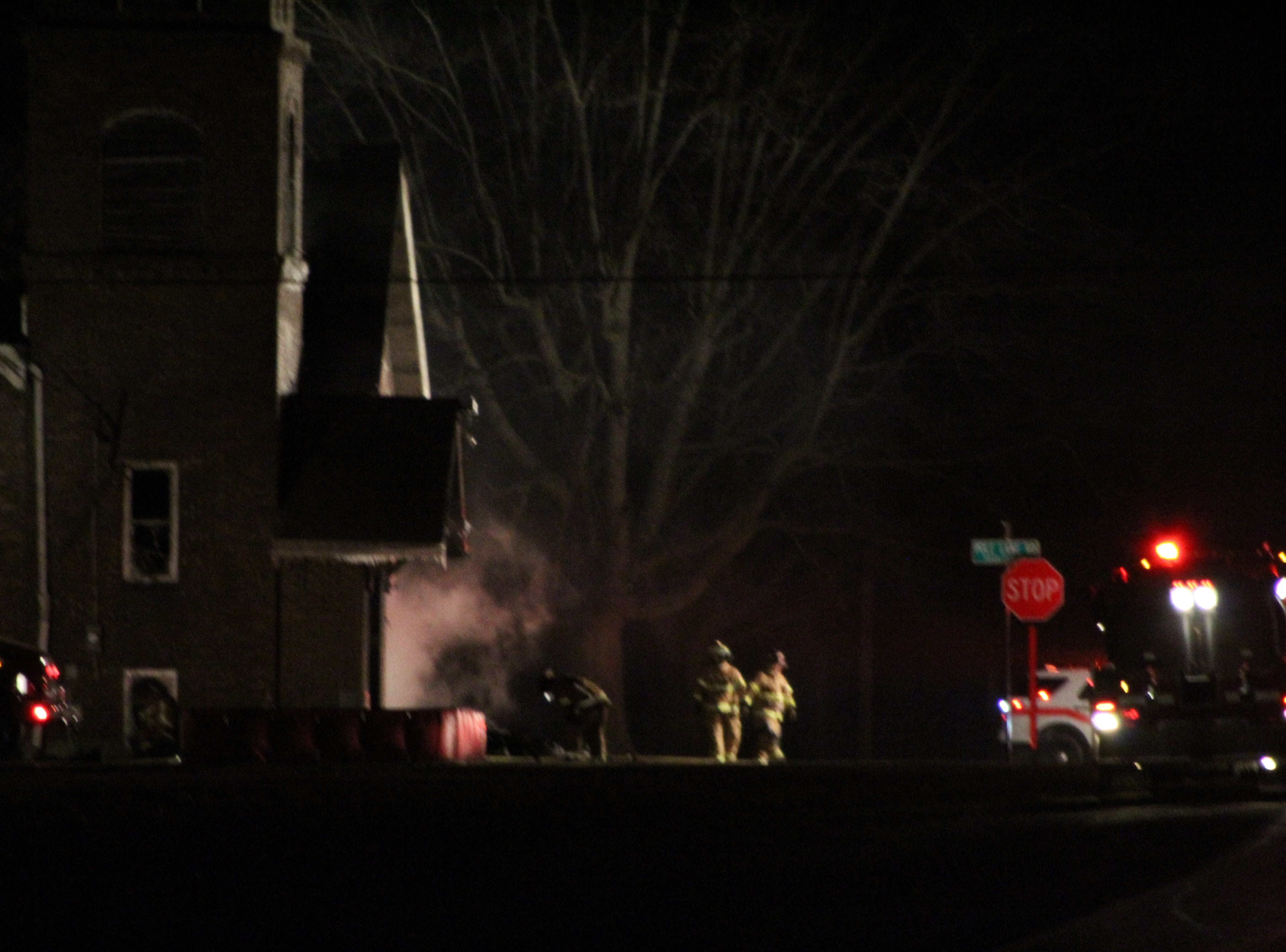 Firefighters from five fire departments responded to reports that flames were coming out of an empty church at 2110 Likens Road.