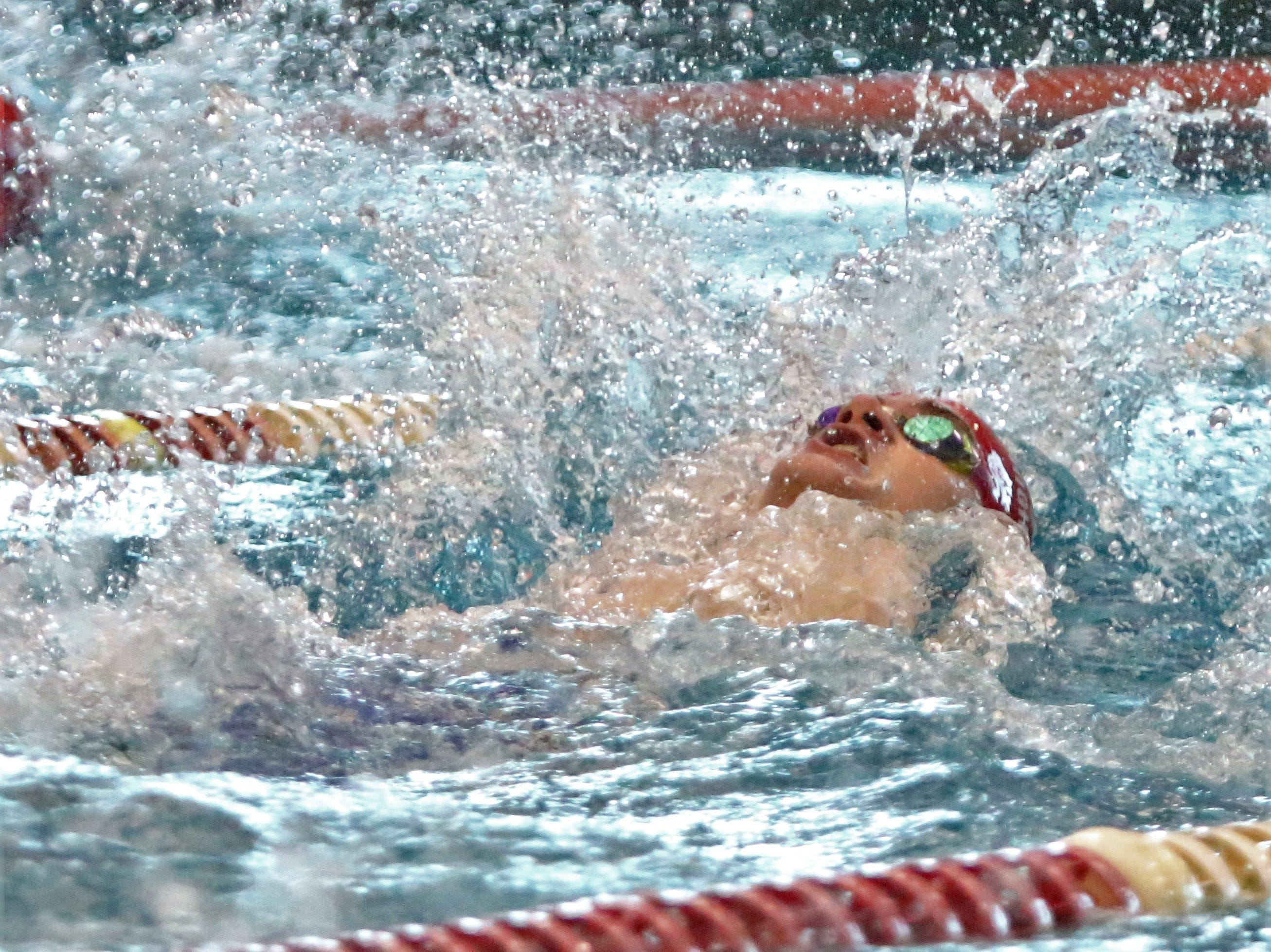 Homestead's Tyler Brown competes in the 100 yard backstroke at the WIAA sectional meet at Homestead High School on Feb. 9, 2019.
