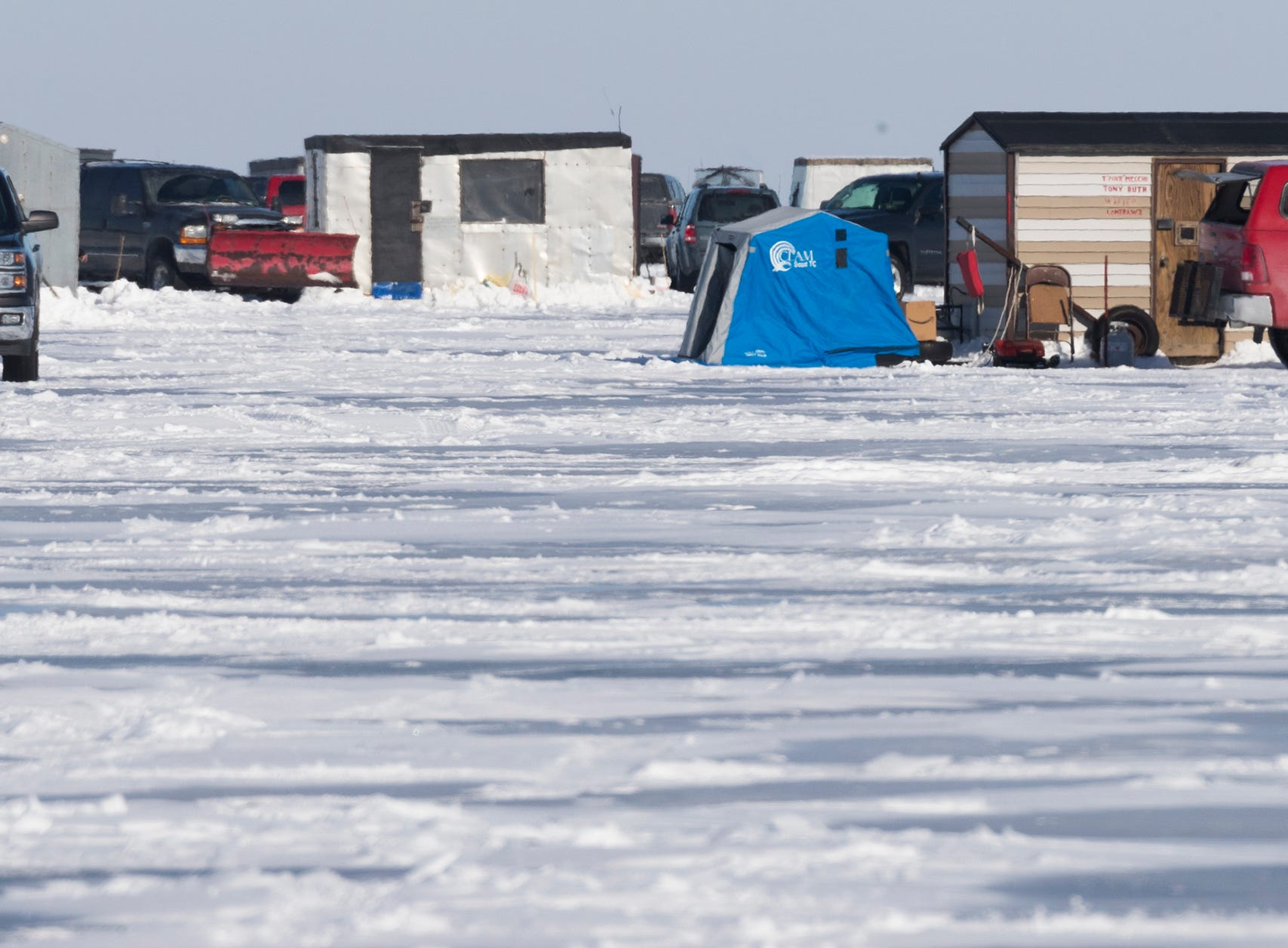 A cluster of shanties is shown during the opening day of sturgeon spearing Saturday.