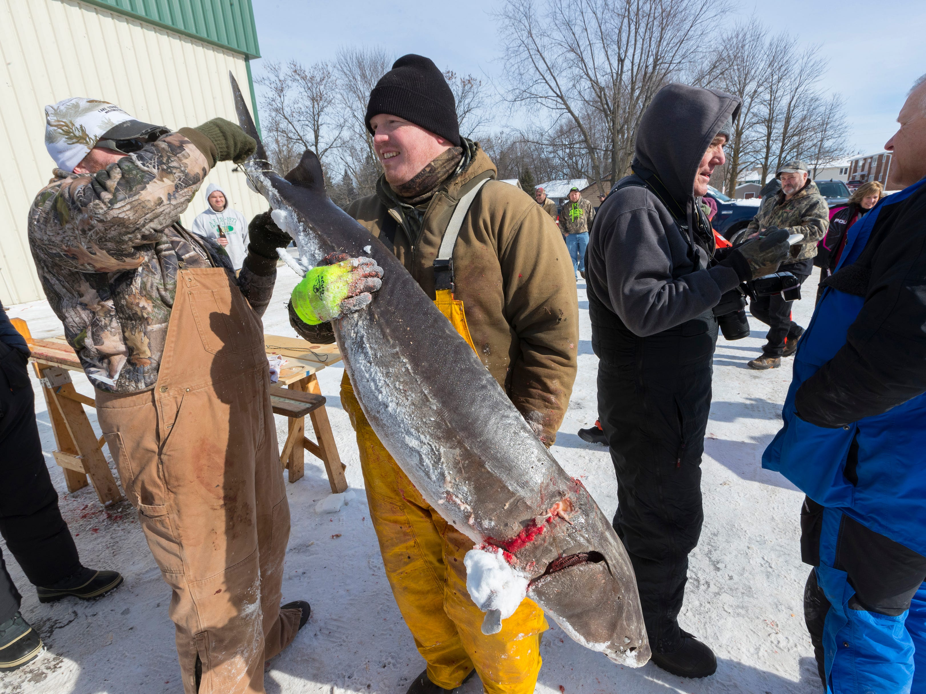 Dan Dembkowski, a volunteer student from UW-Stevens Point, carries a fish to be weighed and registered during the opening day of sturgeon spearing Saturday, Feb. 9, 2019, at Critter's in Winneconne, Wis.