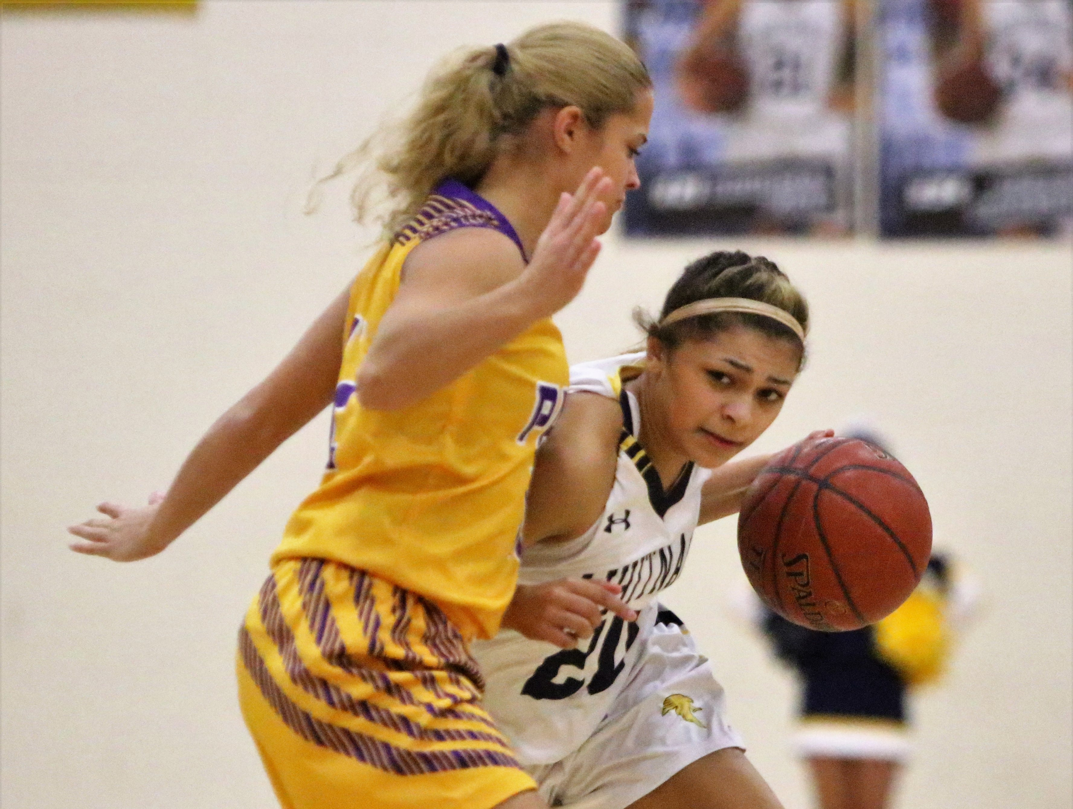 Whitnall guard Christina Kelley works to get past Cudahy guard Camryn Kratt during a game on Feb. 8, 2019.