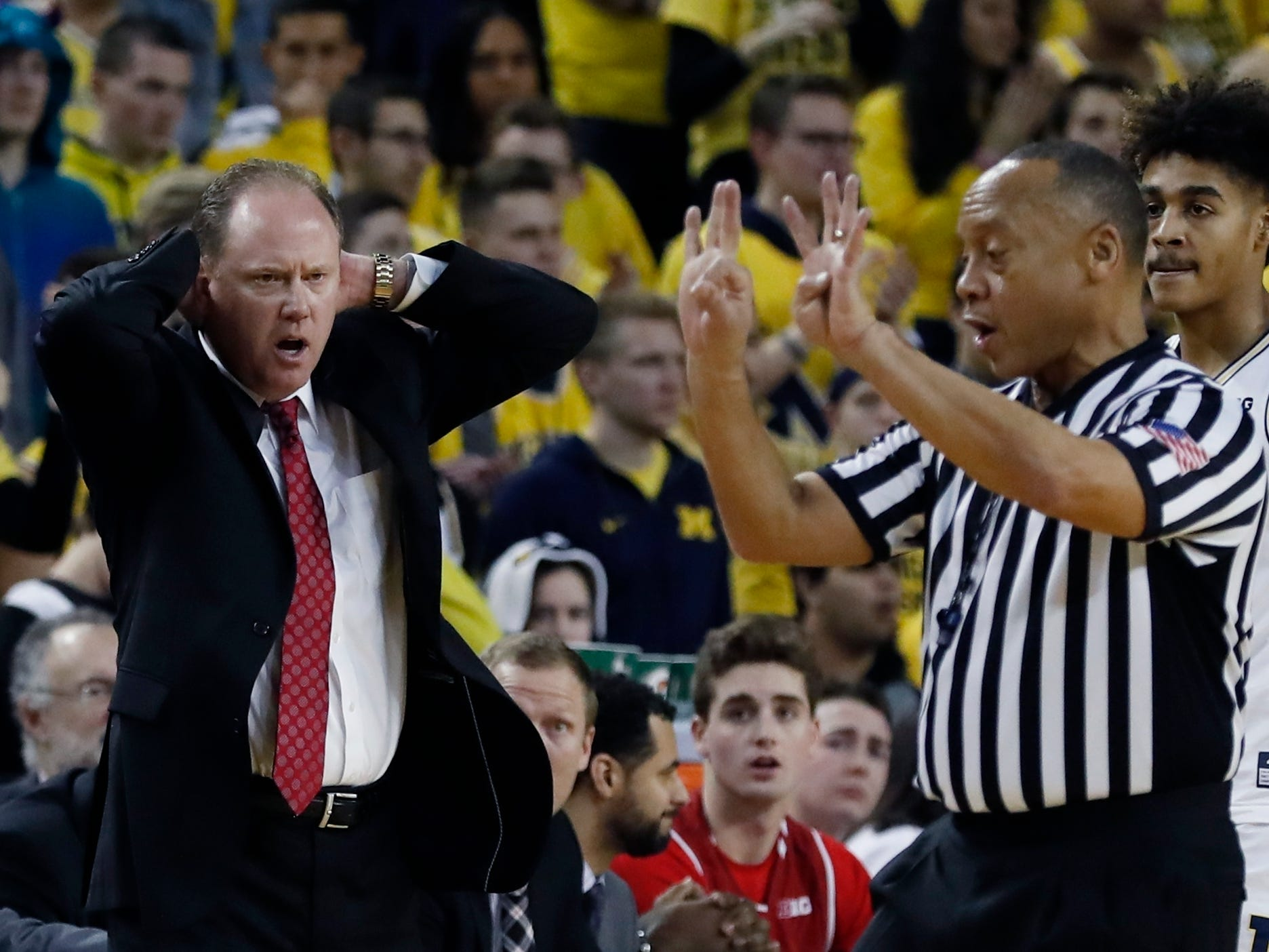 Wisconsin head coach Greg Gard isn't pleased with a call in the first half on Saturday.