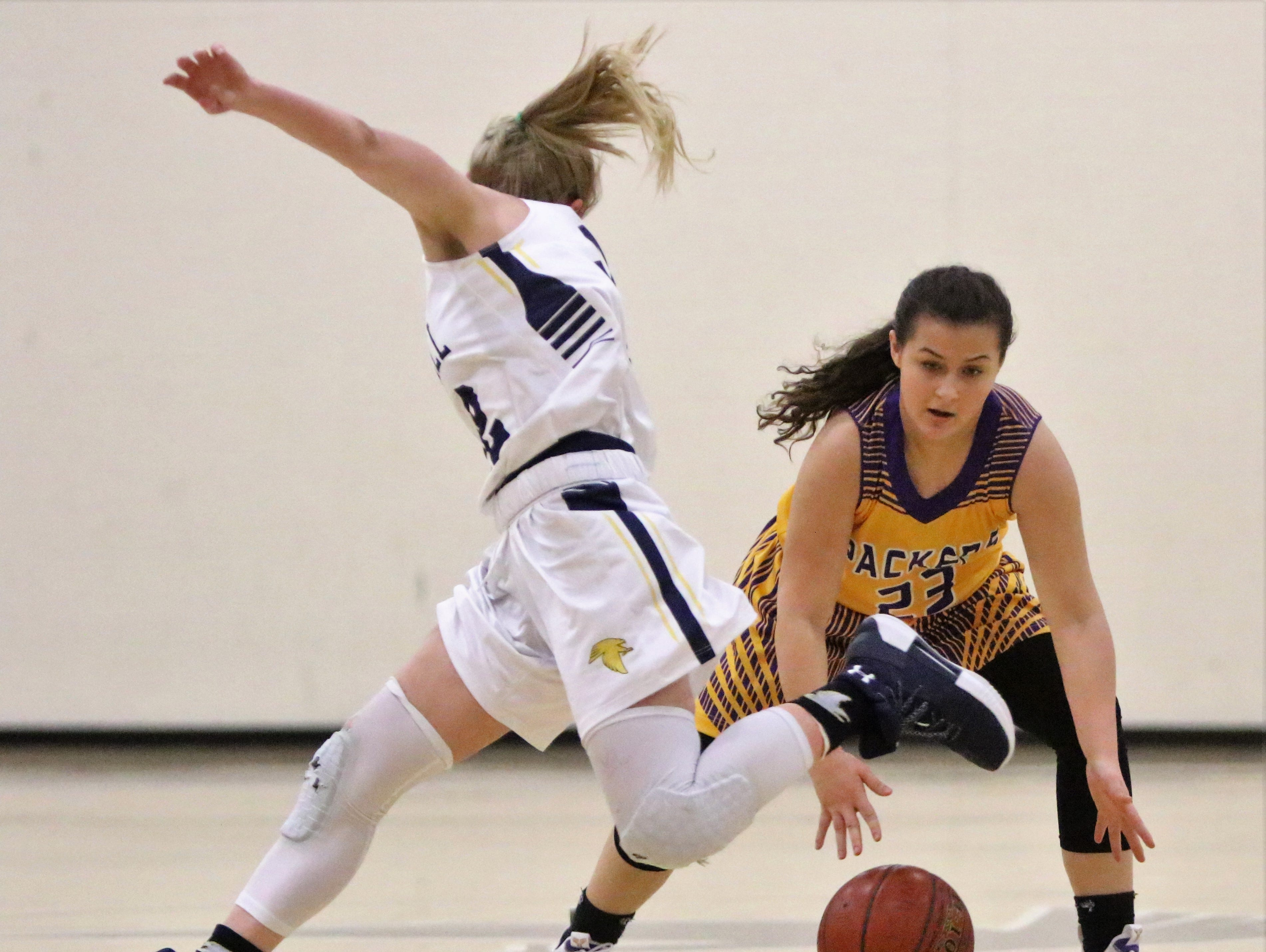 Cudahy guard Sarah Hansen cross over her dribble on a Whitnall defender during a game on Feb. 8, 2019.
