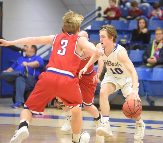 Mountain Home's Bayler Crecelius looks to drive against Paragould on Friday night.