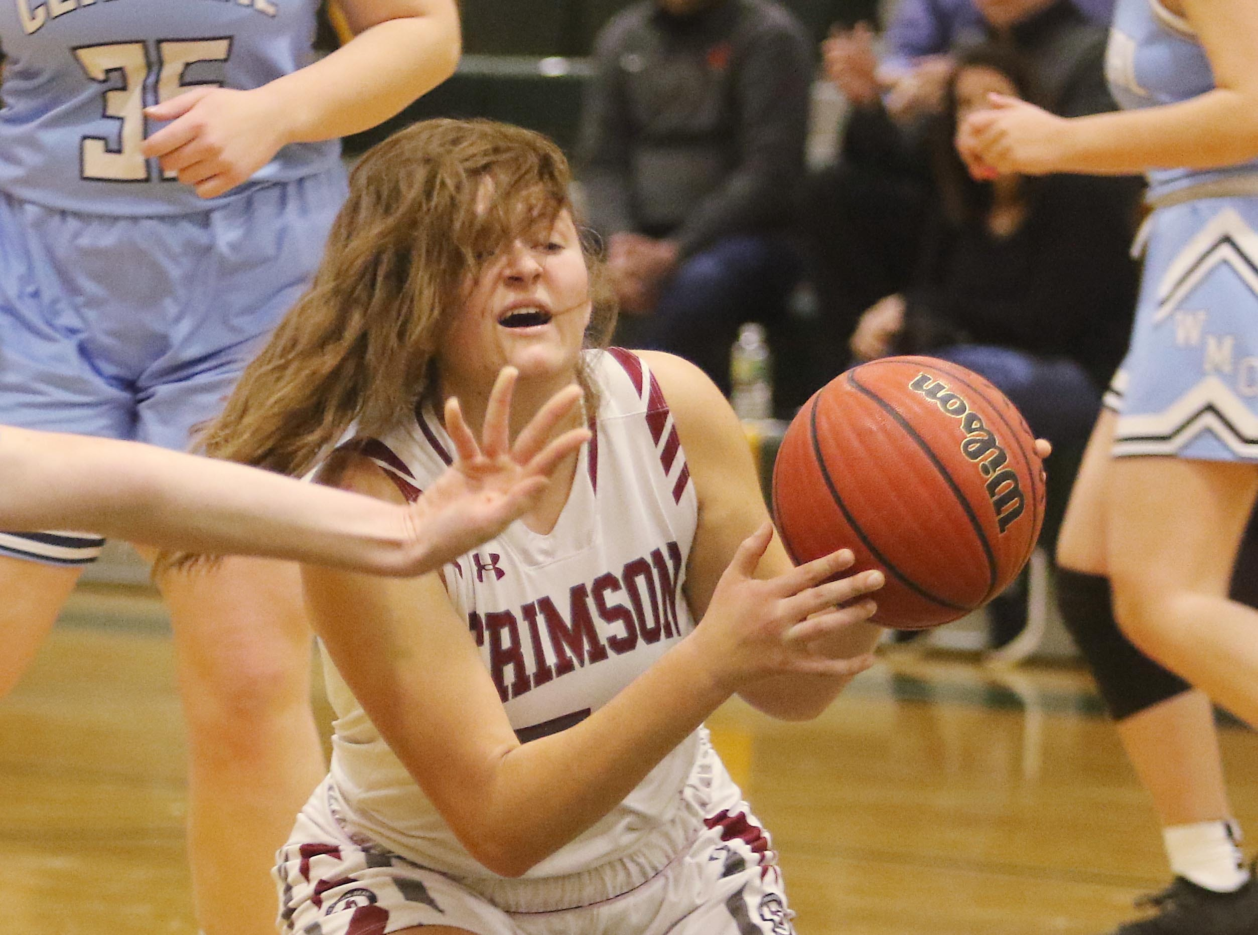 Emma Kenny of Morristown-Beard picks up the loose ball and looks for a team mate to pass to in the first half.
