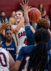 Montgomery Academy's Leighton Robertson (4) goes to the hoop against Pike Road on the MA campus in Montgomery, Ala., on Friday February 8, 2019.