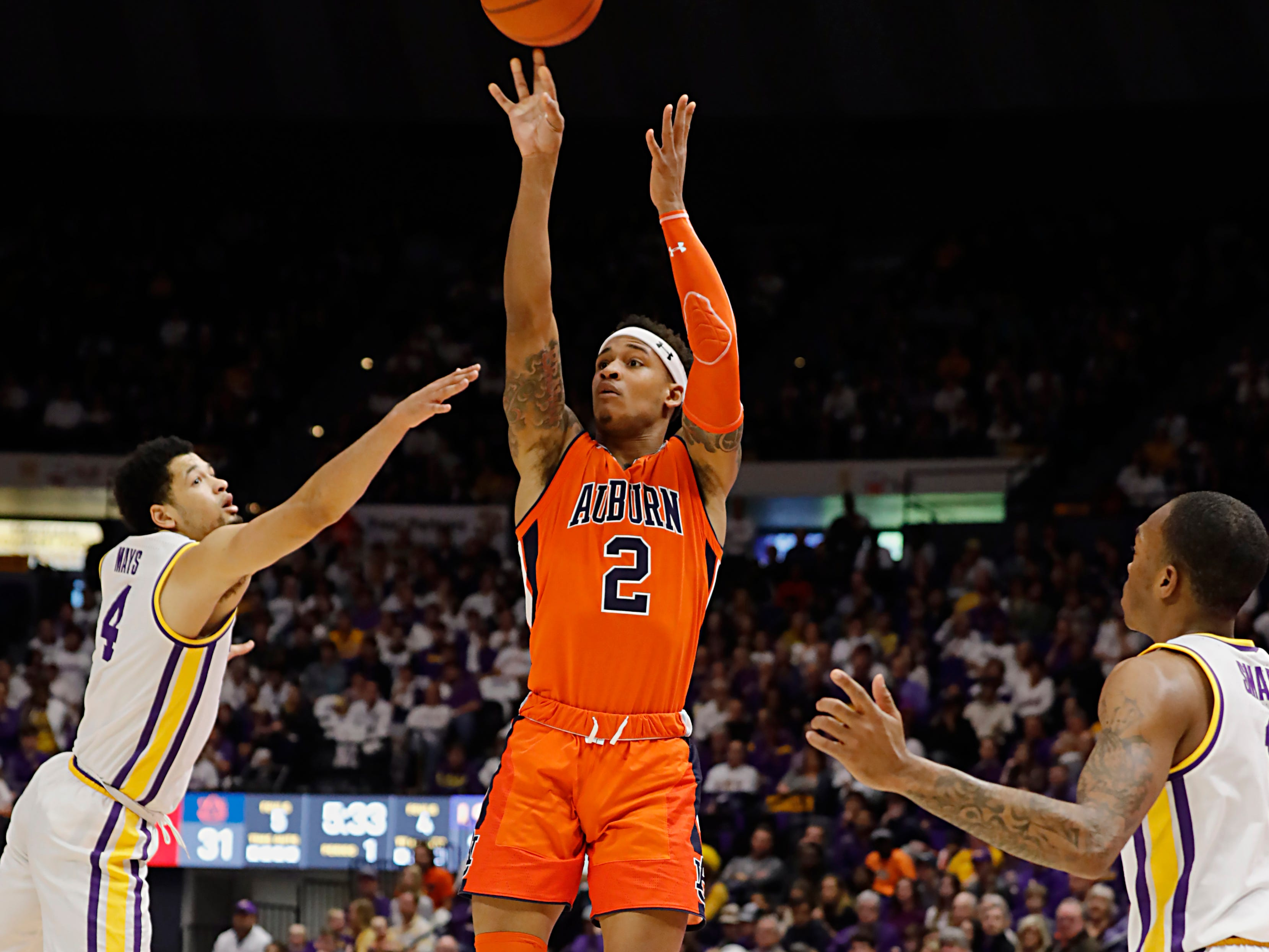Feb 9, 2019; Baton Rouge, LA, USA; Auburn Tigers guard Bryce Brown (2) shoots a jump shot against LSU Tigers in the first half at Maravich Assembly Center. Mandatory Credit: Stephen Lew-USA TODAY Sports