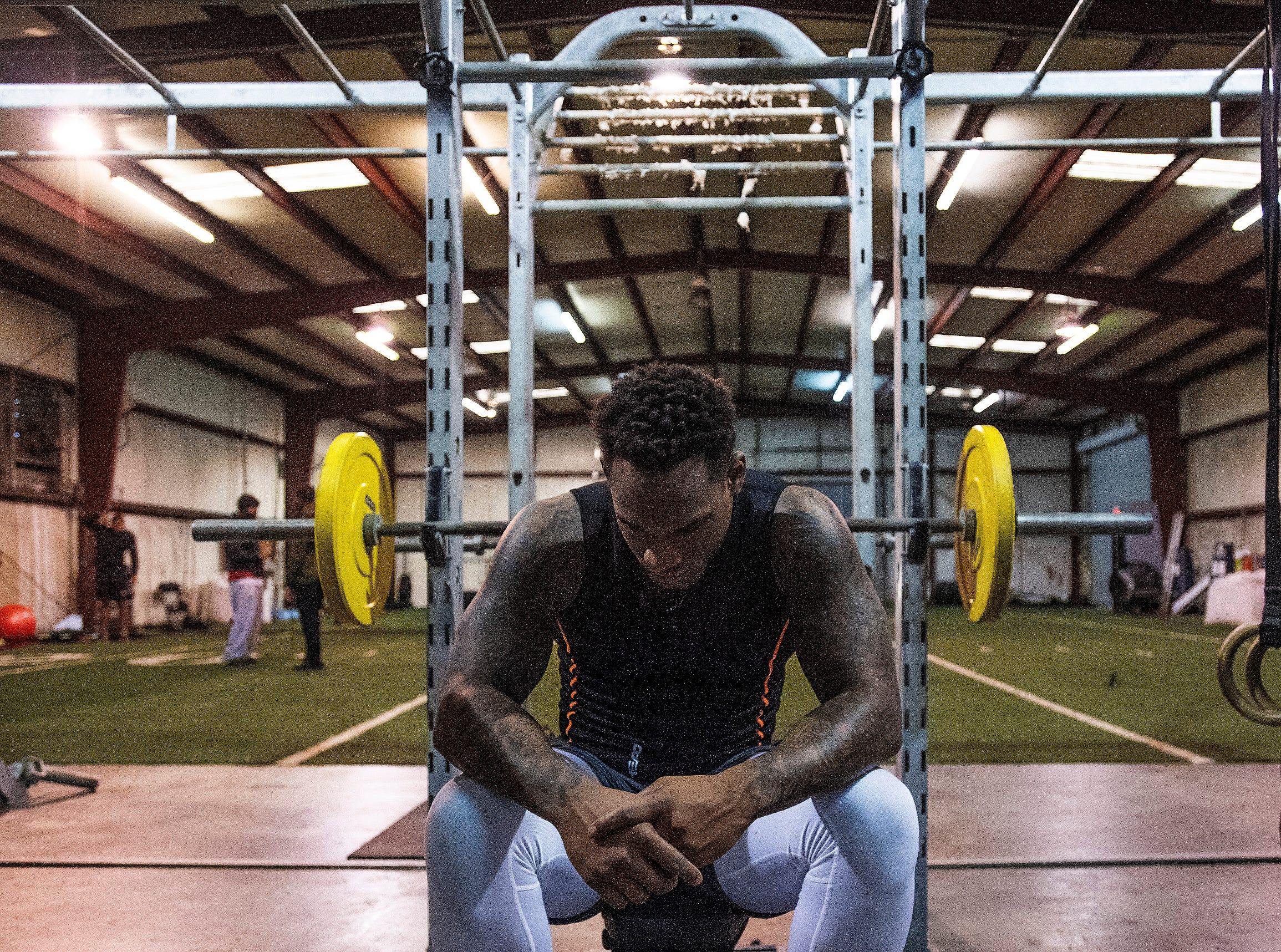 Mack Wilson trains for the NFL Combine at MADhouse gym in Montgomery, Ala., on Saturday February 9, 2019.