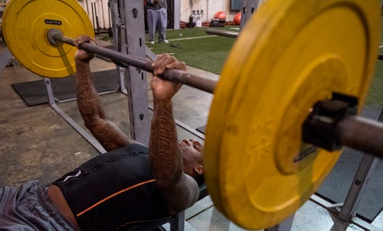Mack Wilson works out as he trains for the NFL Combine at MADhouse gym in Montgomery, Ala., on Saturday February 9, 2019.