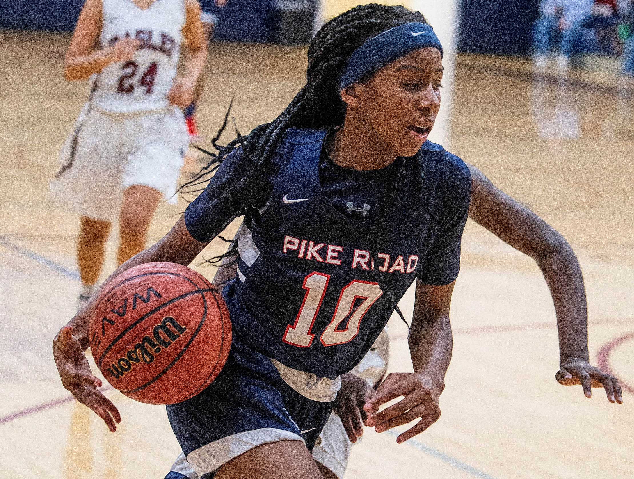 Pike Road's Jada Roberts (10) against Montgomery Academy on the MA campus in Montgomery, Ala., on Friday February 8, 2019.