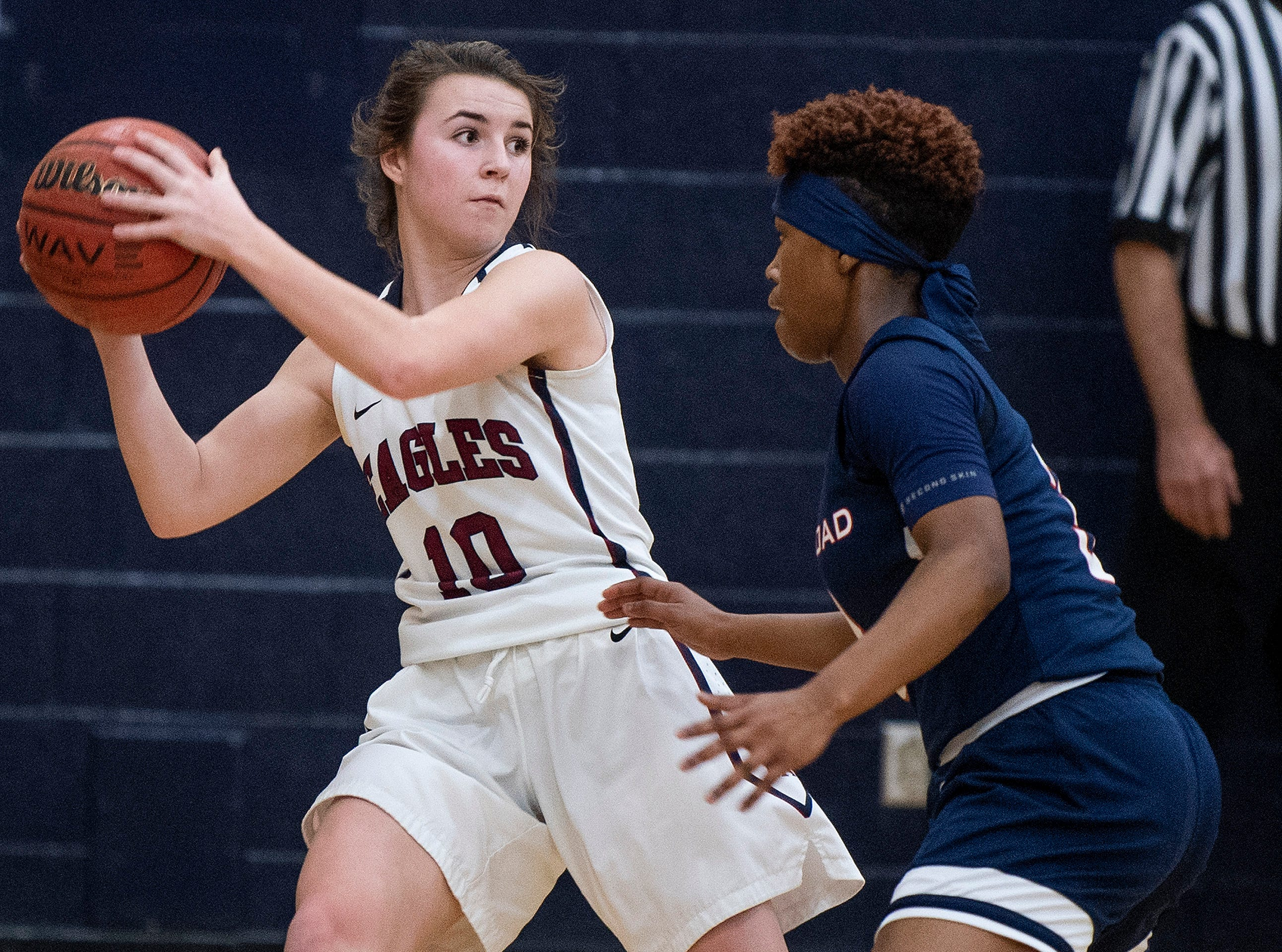 Montgomery Academy's Madisyn Caddell (10) against Pike Road's Sheria Clement (3) on the MA campus in Montgomery, Ala., on Friday February 8, 2019.