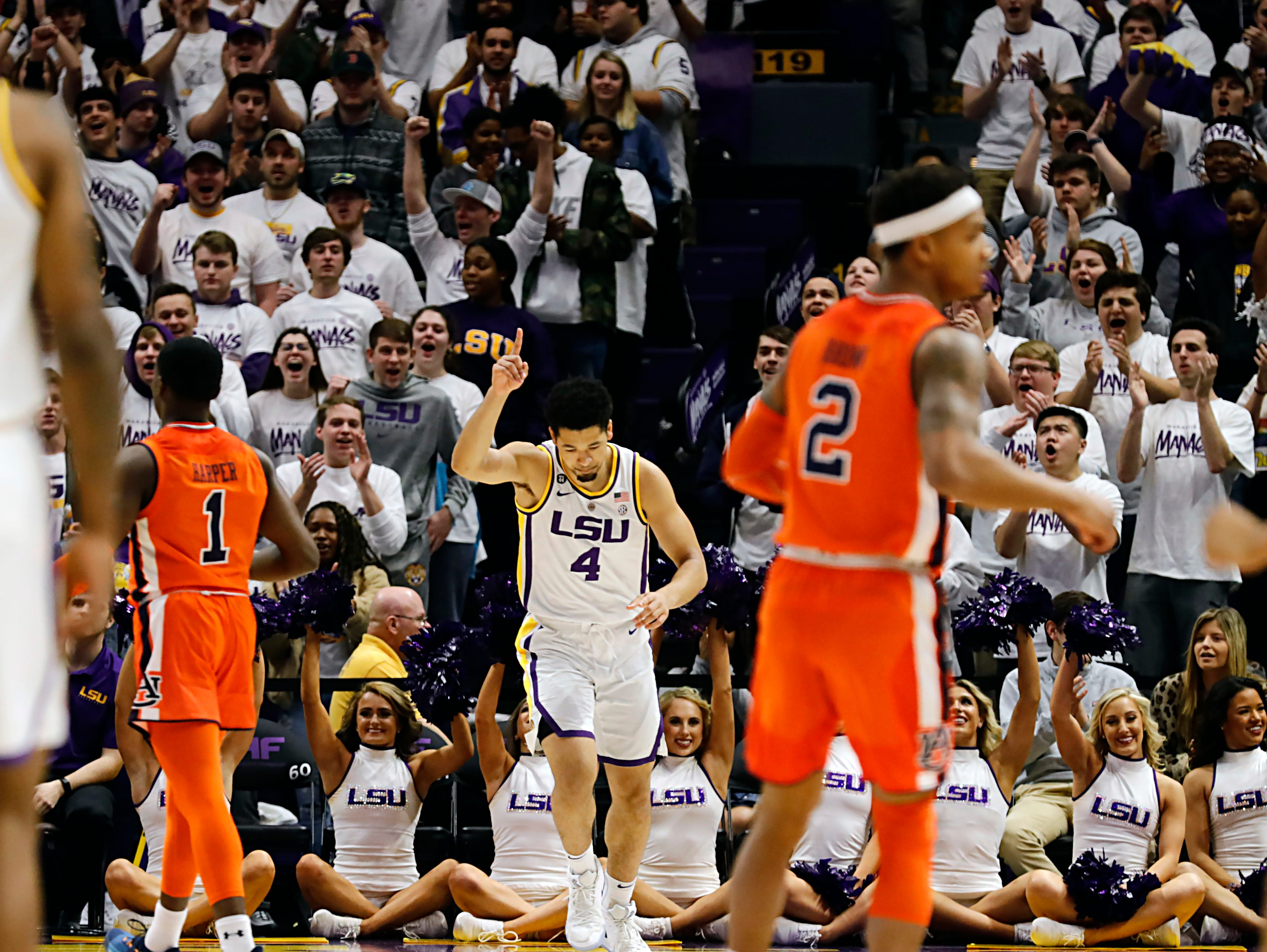 Feb 9, 2019; Baton Rouge, LA, USA;  LSU Tigers guard Skylar Mays (4) reacts to making a 2 point shot against Auburn Tigers in the first half at Maravich Assembly Center. Mandatory Credit: Stephen Lew-USA TODAY Sports