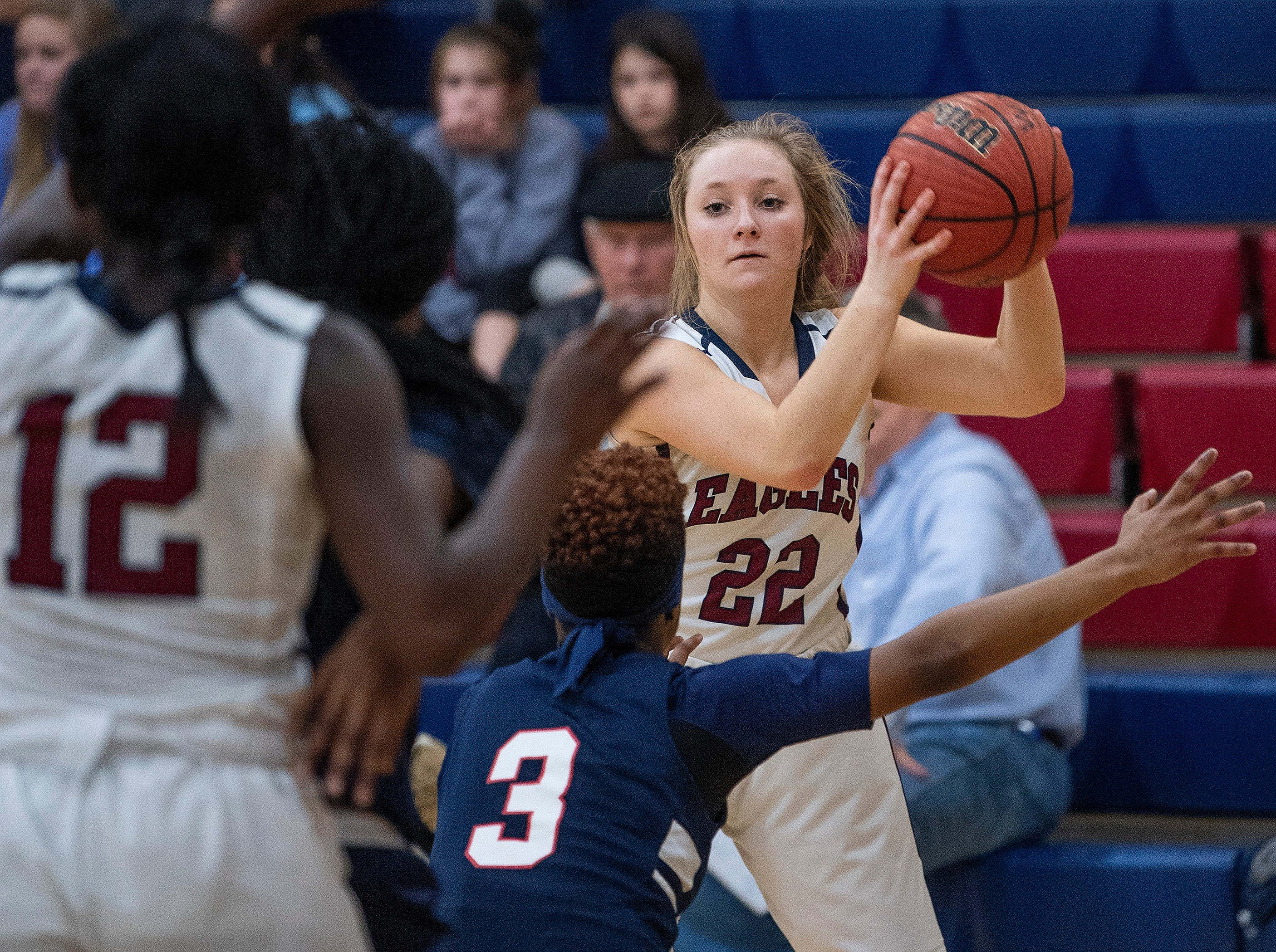 Montgomery Academy's Mildred Stevenson (22) looks to pass against Pike Road on the MA campus in Montgomery, Ala., on Friday February 8, 2019.
