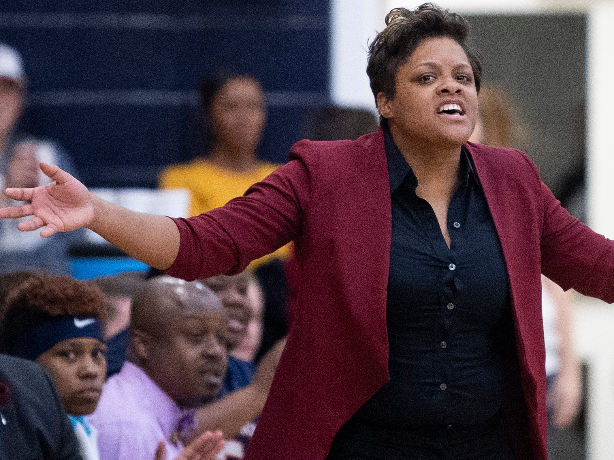 Pike Road coach Courtney Ward against Montgomery Academy on the MA campus in Montgomery, Ala., on Friday February 8, 2019.