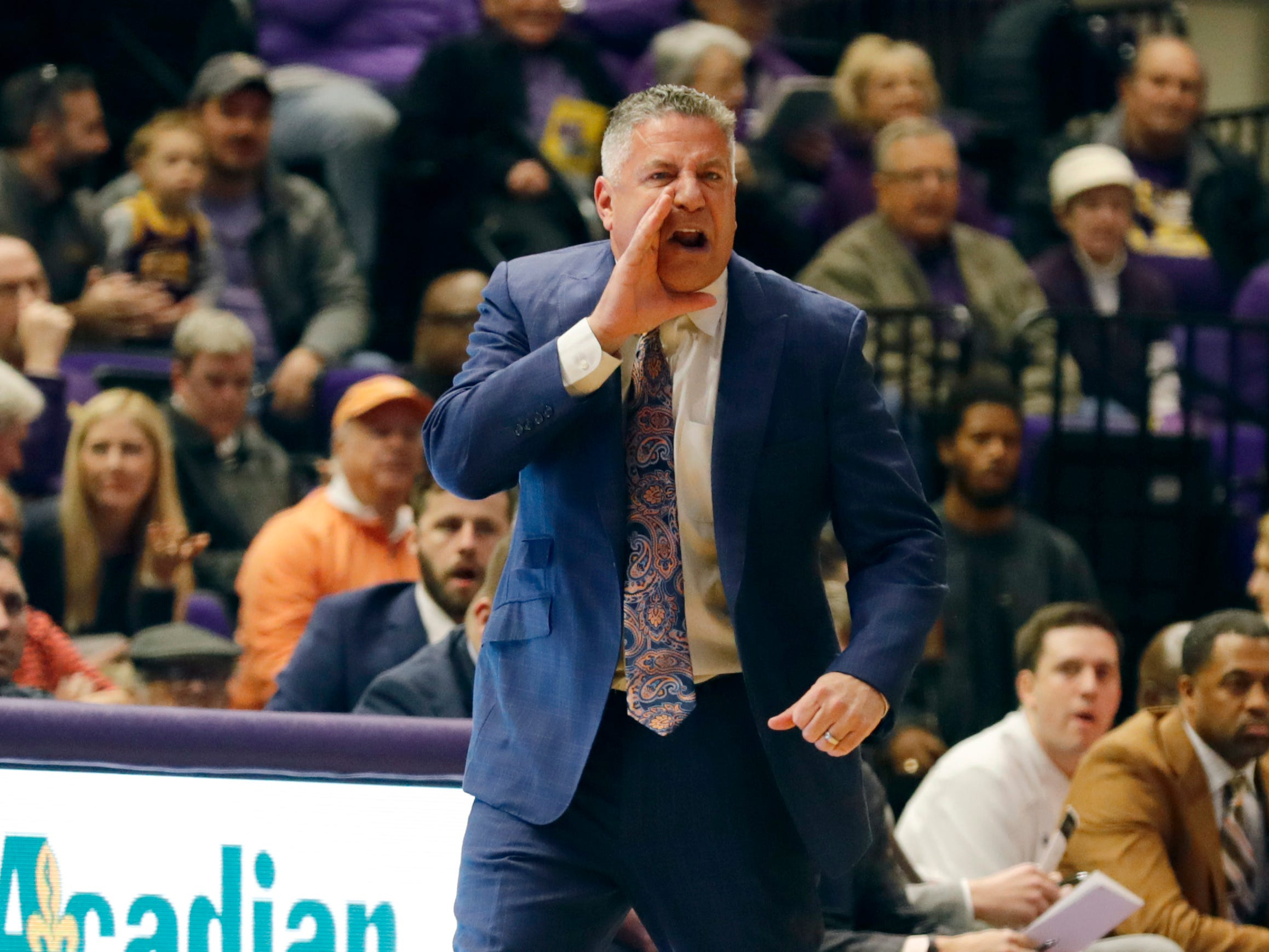 Feb 9, 2019; Baton Rouge, LA, USA; Auburn Tigers head coach Bruce Pearl yells at his players from the bench against LSU Tigers in the first half at Maravich Assembly Center. Mandatory Credit: Stephen Lew-USA TODAY Sports