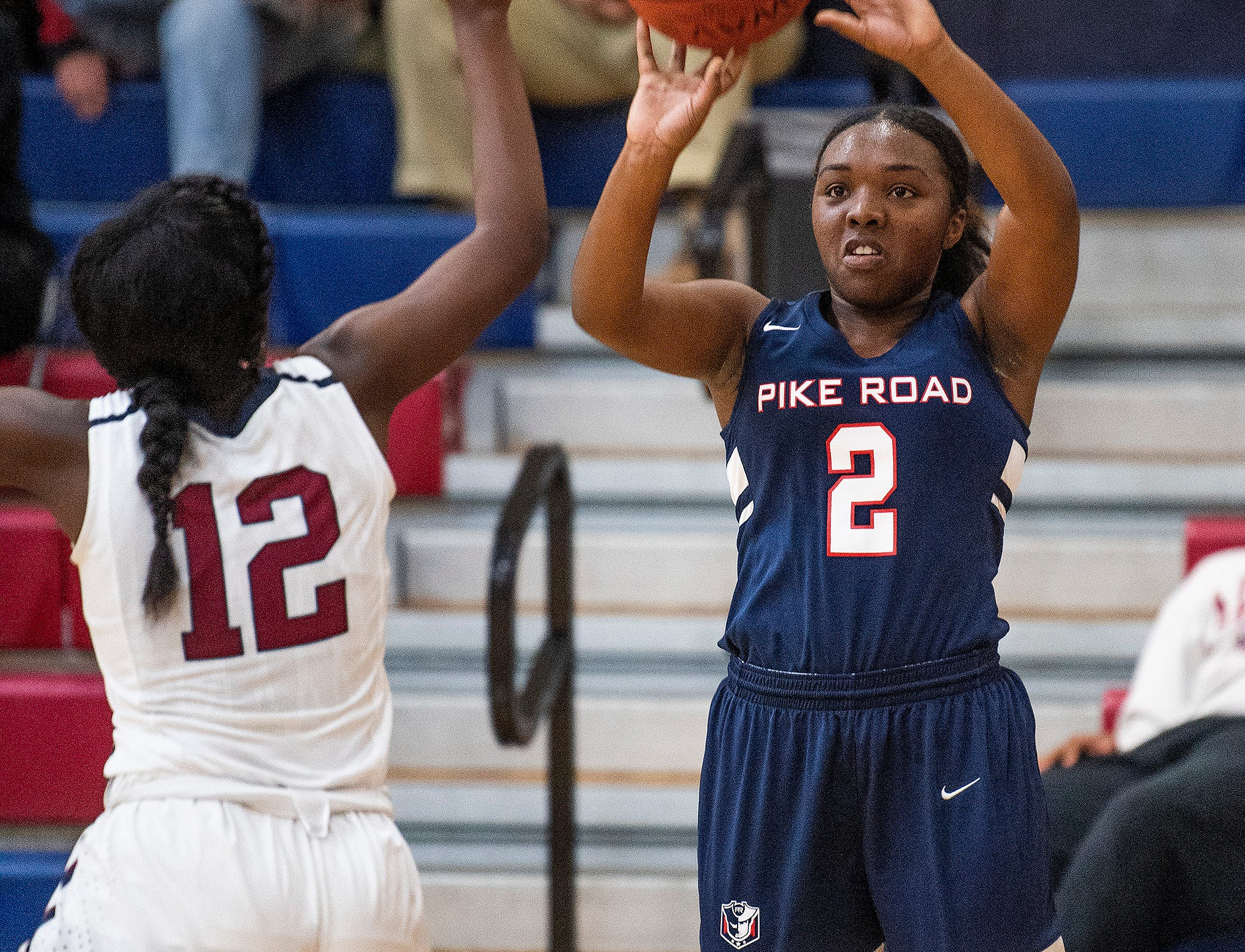 Pike Road's Sheria Clement (3) shoots against Montgomery Academy on the MA campus in Montgomery, Ala., on Friday February 8, 2019.