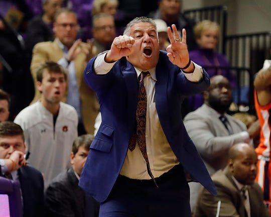 Auburn head coach Bruce Pearl reacts to a play against LSU in the first half at Maravich Assembly Center on Feb. 9, 2019, in Baton Rouge, La.