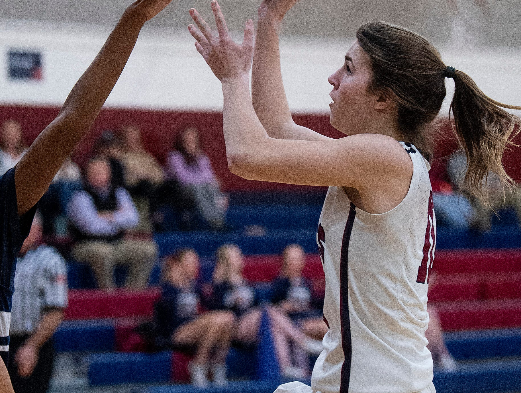Montgomery Academy's Madisyn Caddell (10) shoots against Pike Road on the MA campus in Montgomery, Ala., on Friday February 8, 2019.