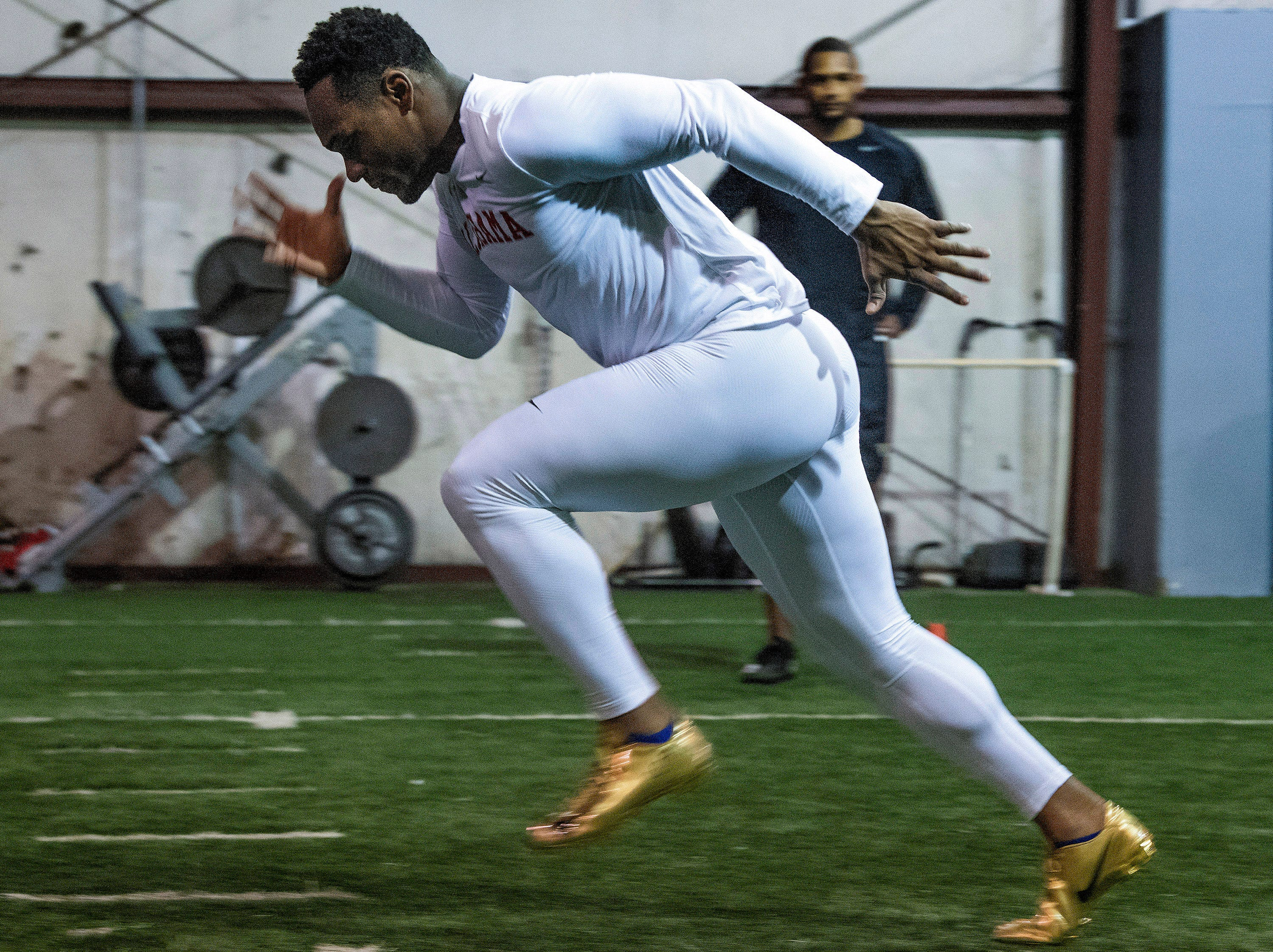 Mack Wilson runs drills as he trains for the NFL Combine at MADhouse gym in Montgomery, Ala., on Saturday February 9, 2019.