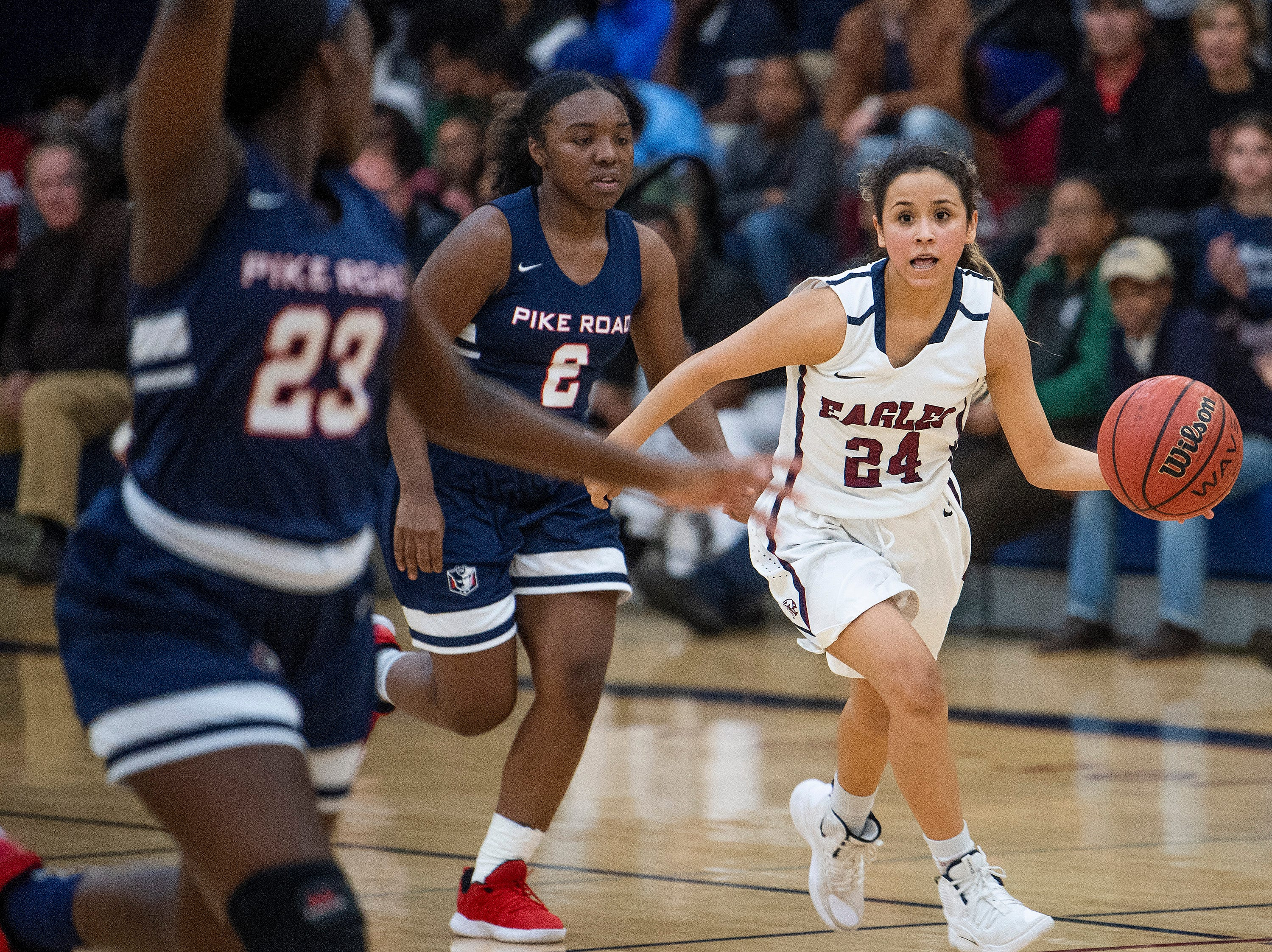 Montgomery Academy's Gabby Ramirez (24) against Pike Road on the MA campus in Montgomery, Ala., on Friday February 8, 2019.