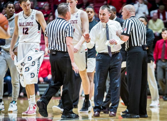 Ball State coach James Whitford, shown here earlier this season against Western Michigan, was frustrated with the team's performance at the foul line in Tuesday's loss at Miami.